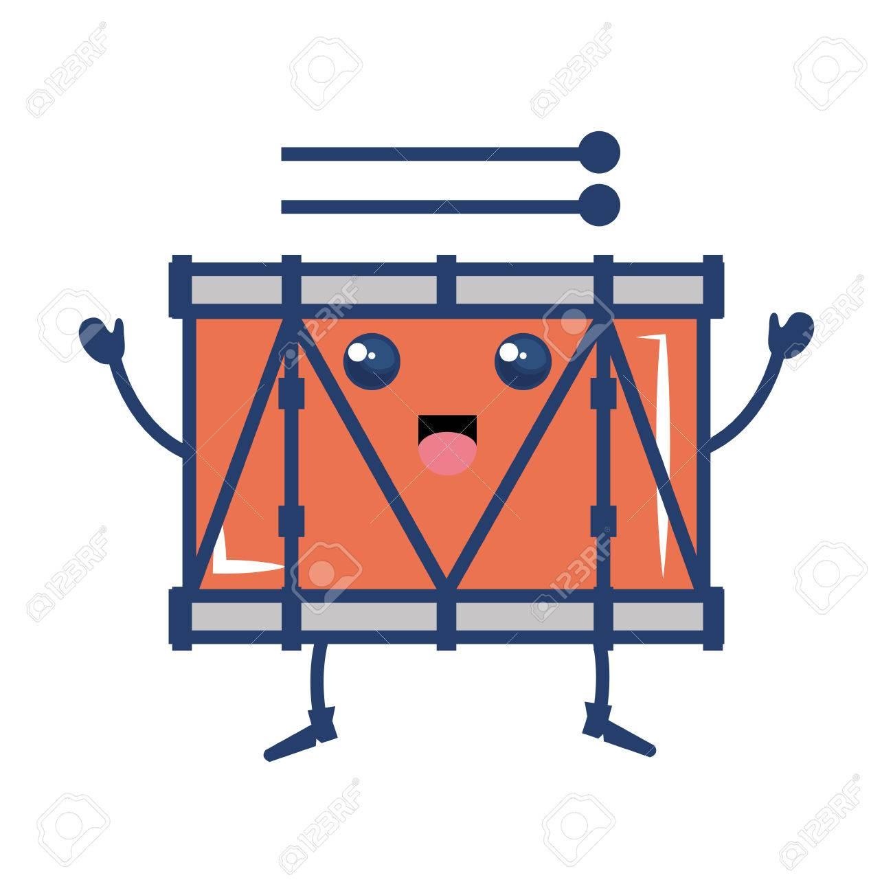 バンド ドラム楽器かわいい文字ベクトル イラスト デザインのイラスト素材 ベクタ Image