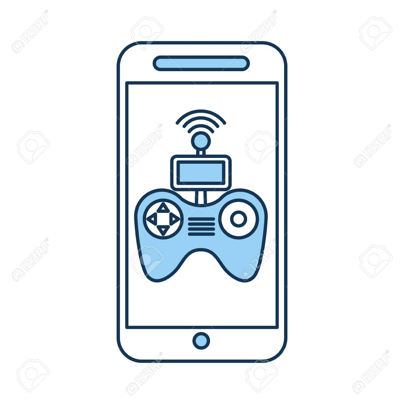 A smartphone with Drone remote control app vector illustration