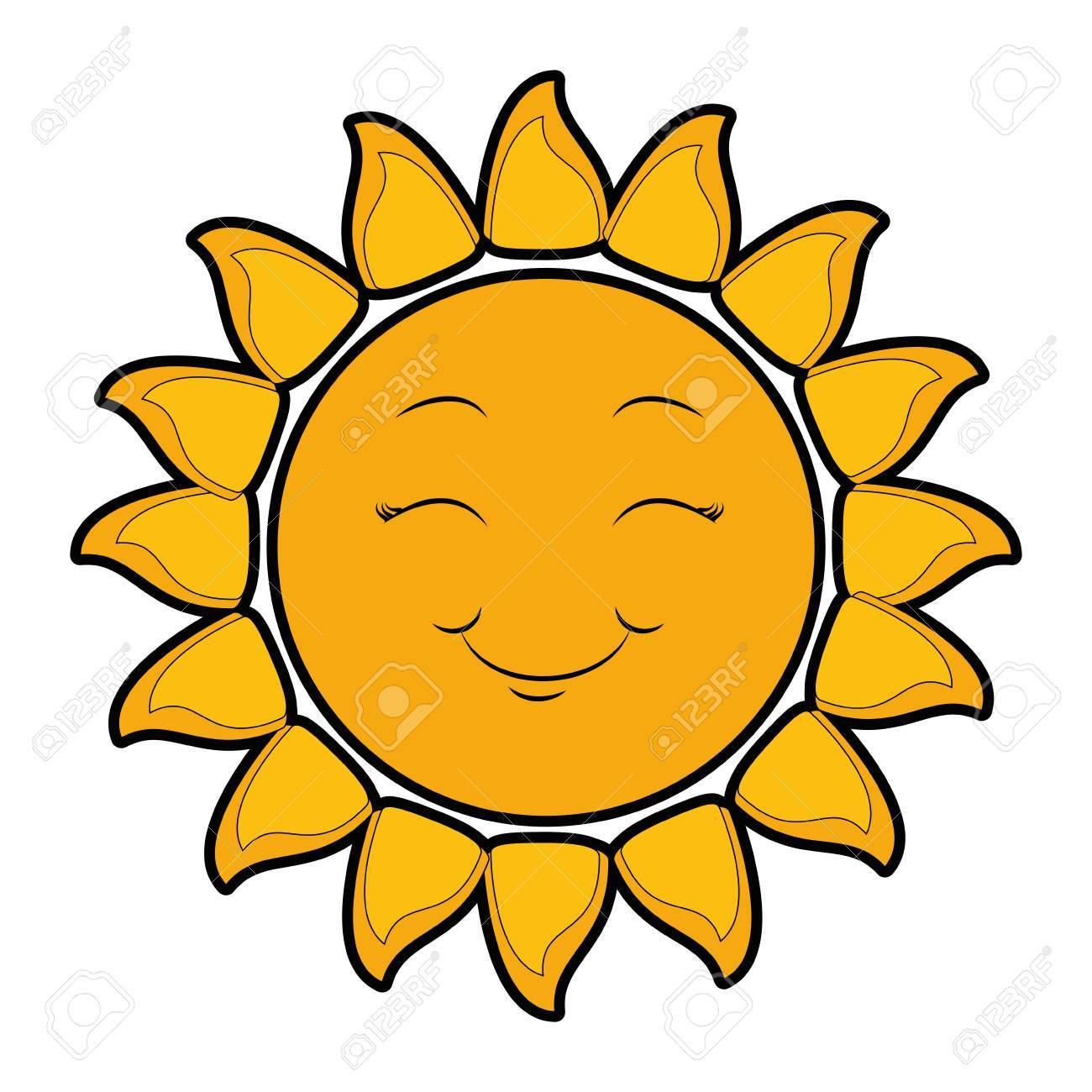 isolated yellow sun face icon vector illustration graphic design rh 123rf com Sun Face Drawings Cartoon Sun with Face