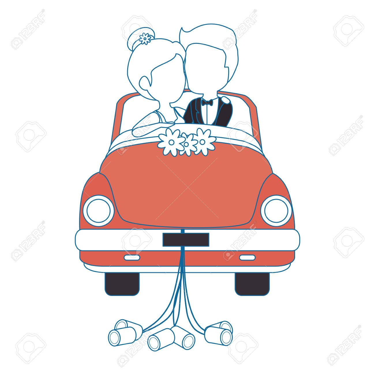Isoliert Jungvermahlten Paar Auto Symbol Vektor Illustration Grafik