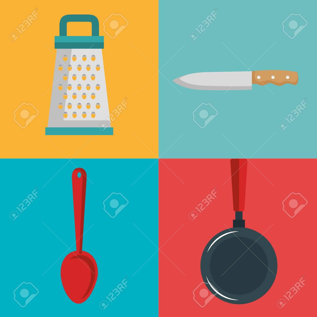 Utensilios De Cocina Diseño Sobre Fondo Colorido Ilustración ...
