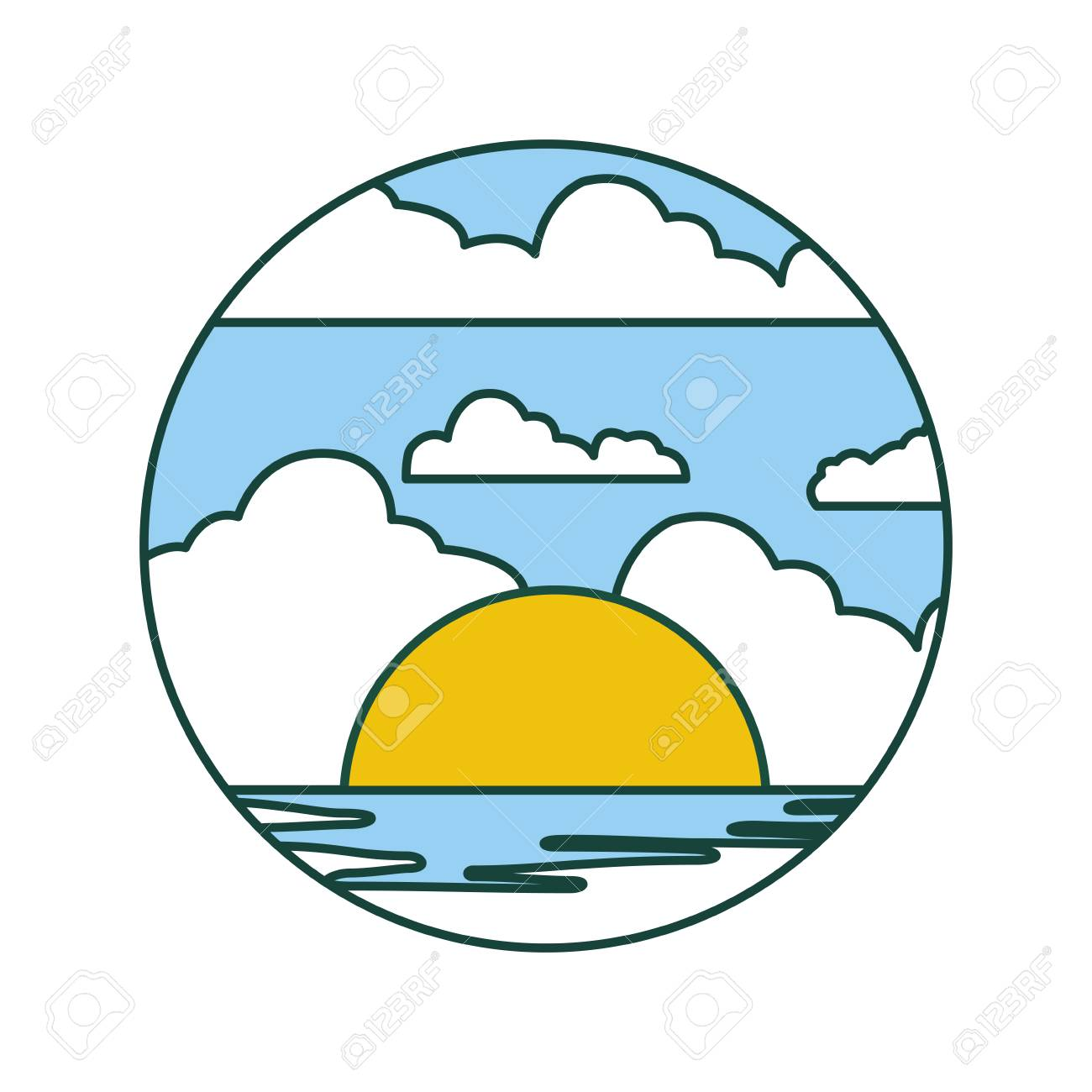 おしゃれシースケープ夏アイコン ベクトル イラスト デザイン