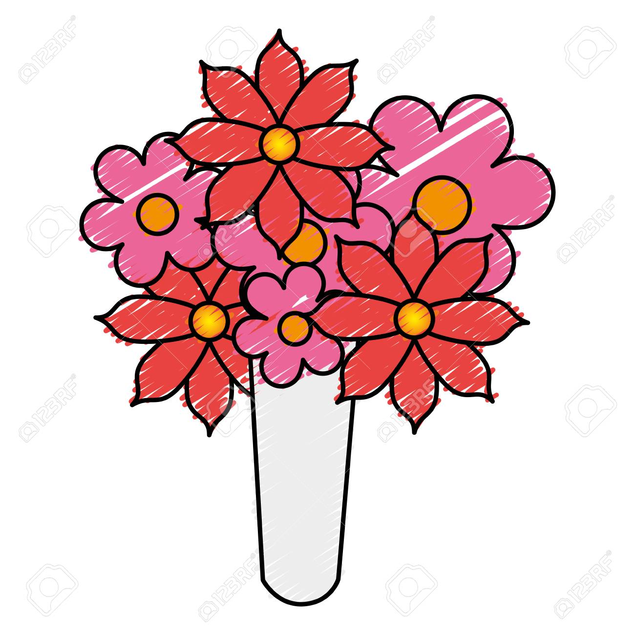 Cute Bouquet Of Flowers Vector Illustration Design Royalty Free