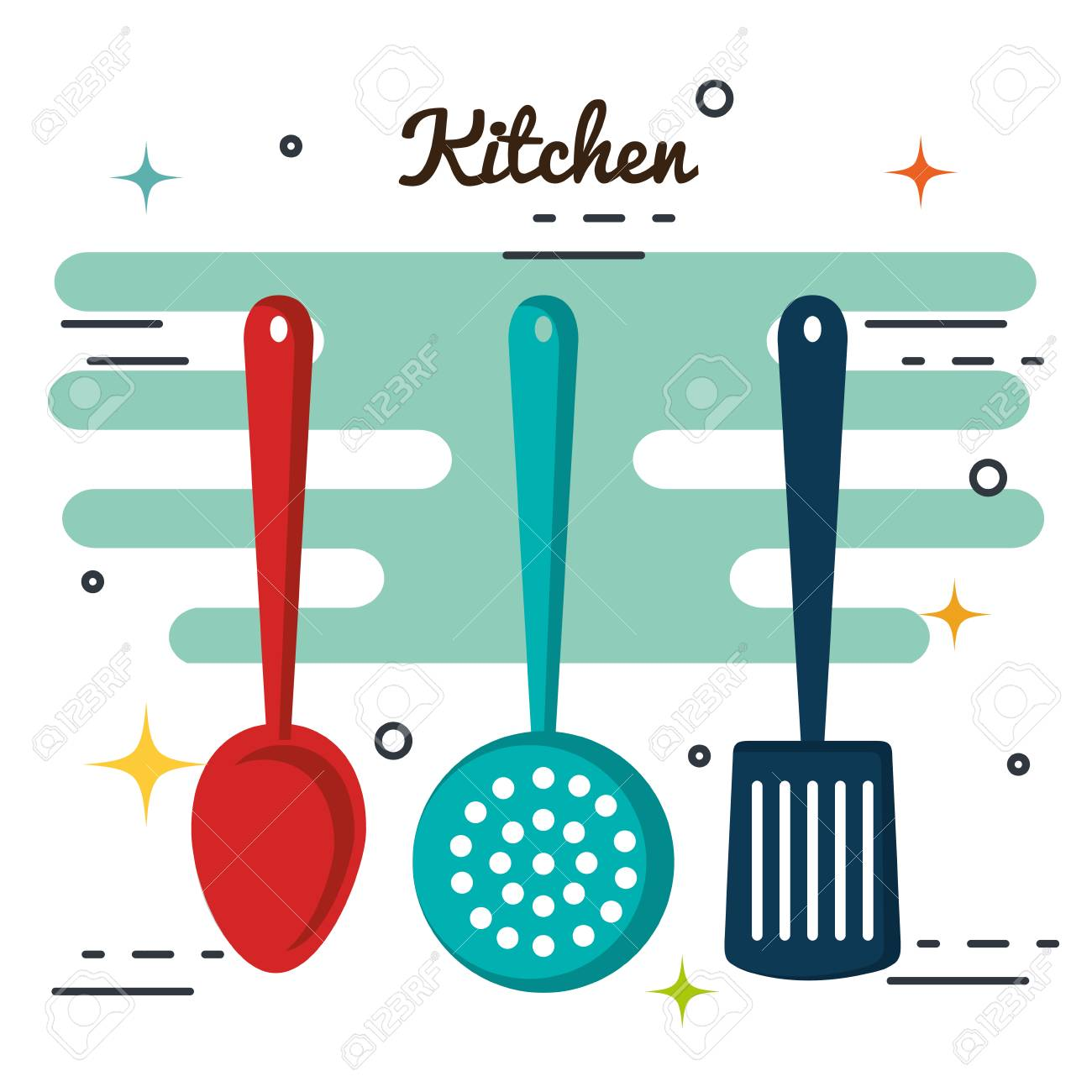 Kitchen Utensils Over White Background Vector Illustration Royalty ...