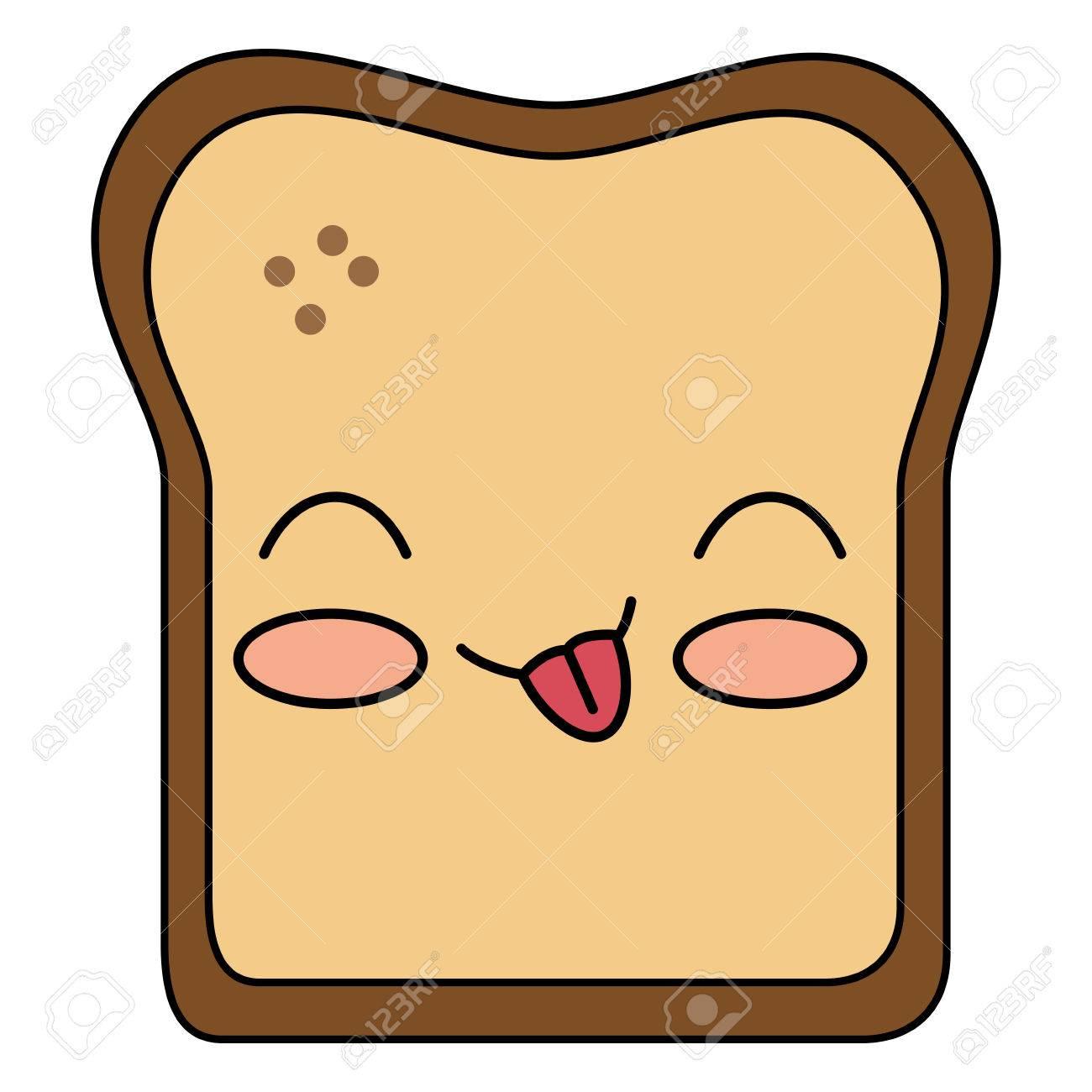 おいしいトーストのパンかわいい文字ベクトル イラスト デザインの