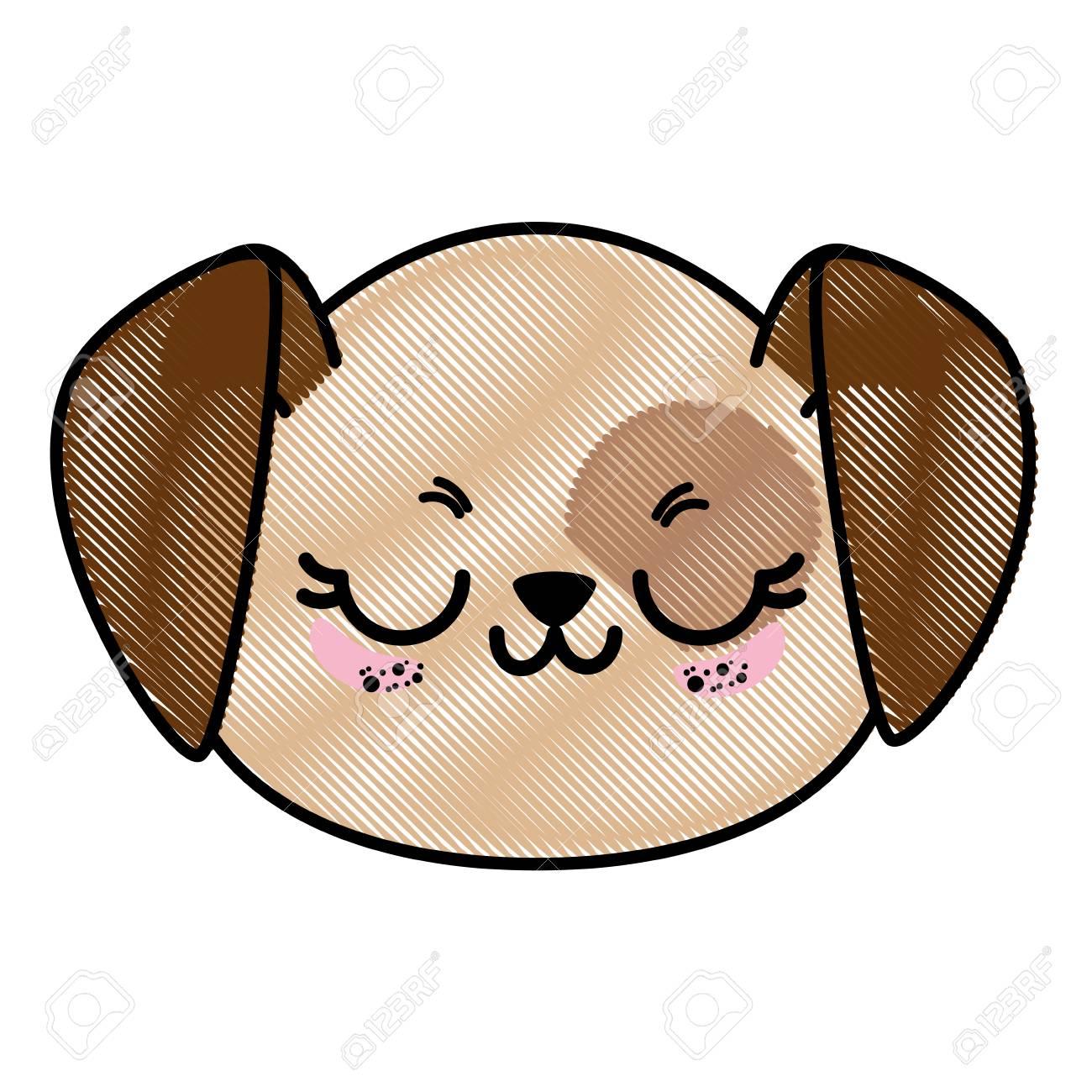 孤立したかわいい犬顔アイコン ベクトル イラスト グラフィック デザイン