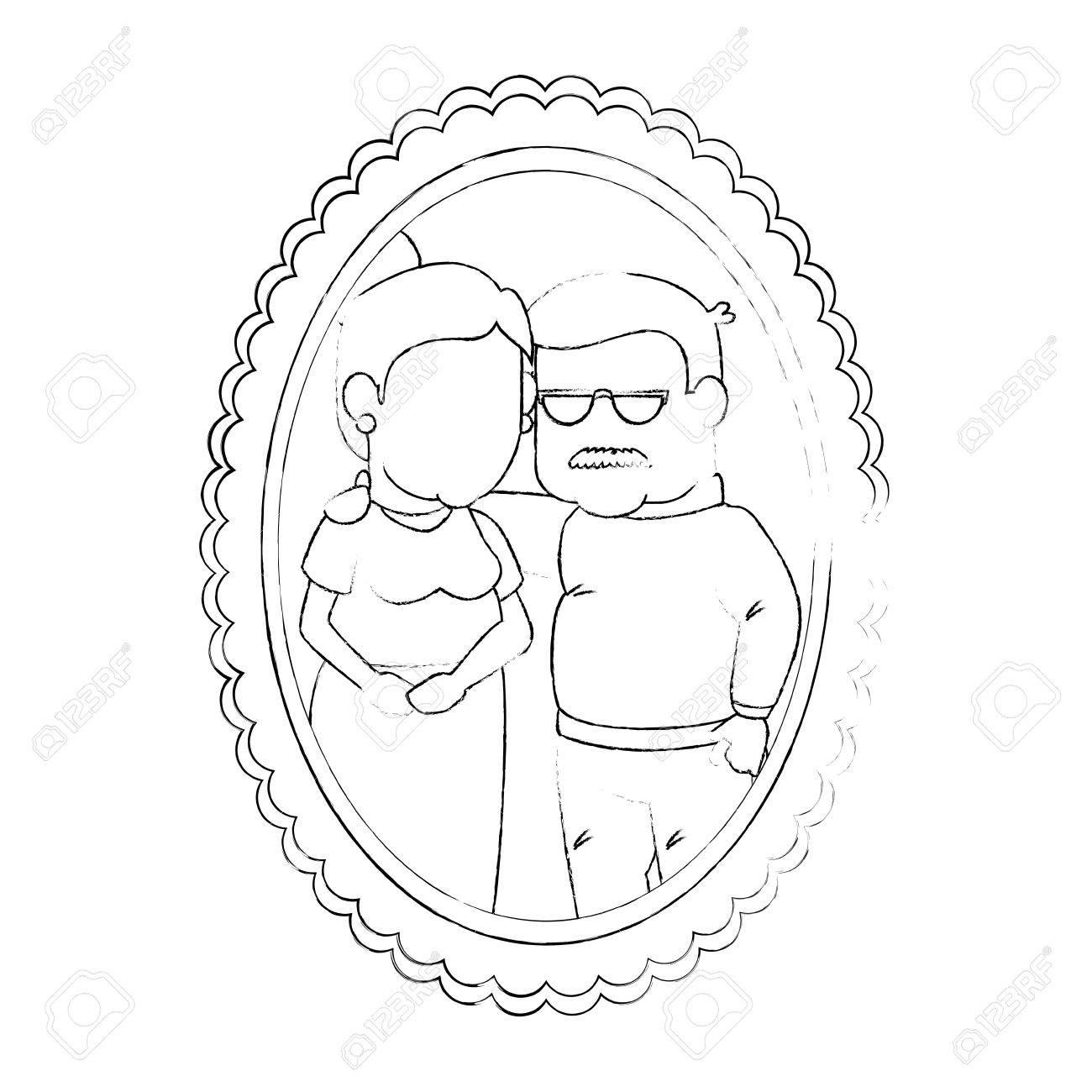 Marco Con Dibujos Animados Pareja De Abuelos Icono De Imagen Sobre ...
