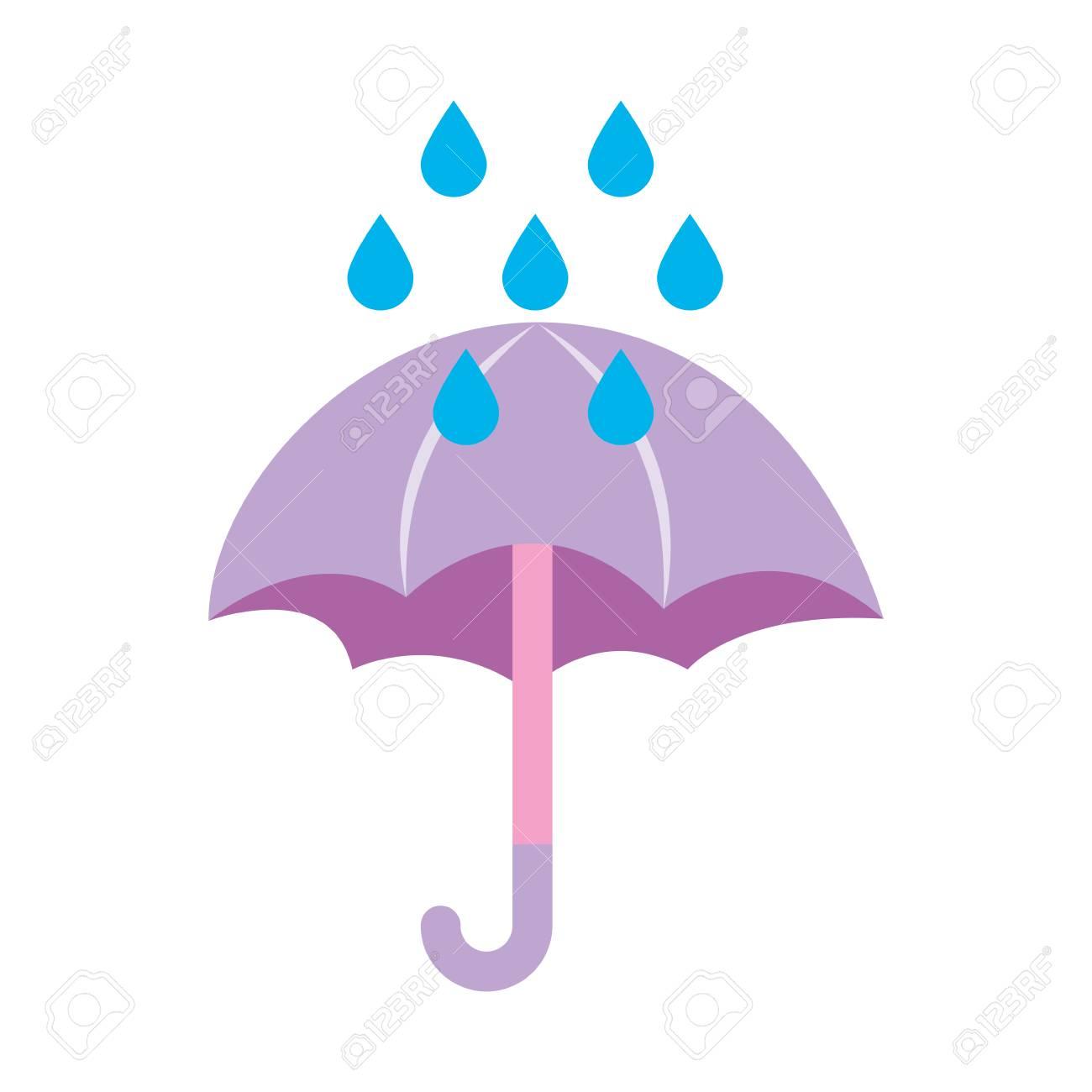 cute umbrella with rain drops vector illustration design royalty
