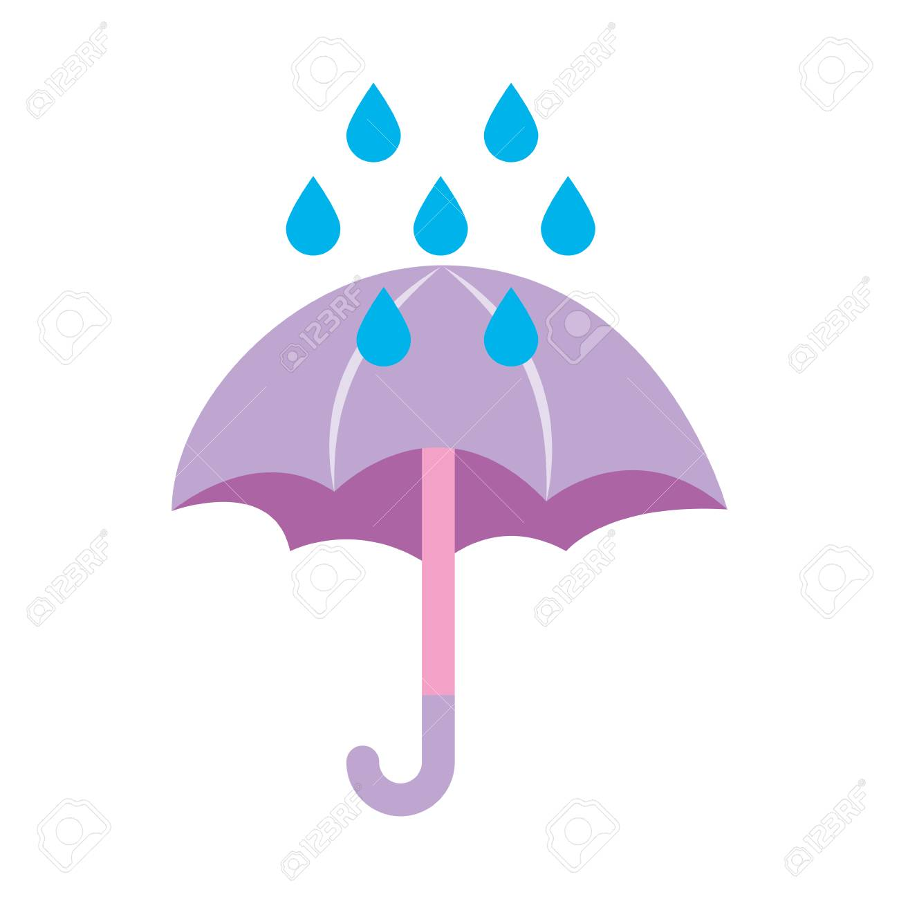 Paraguas Lindo Con Gotas De Lluvia Ilustración Vectorial De Diseño Ilustraciones Vectoriales Clip Art Vectorizado Libre De Derechos Image 83629832