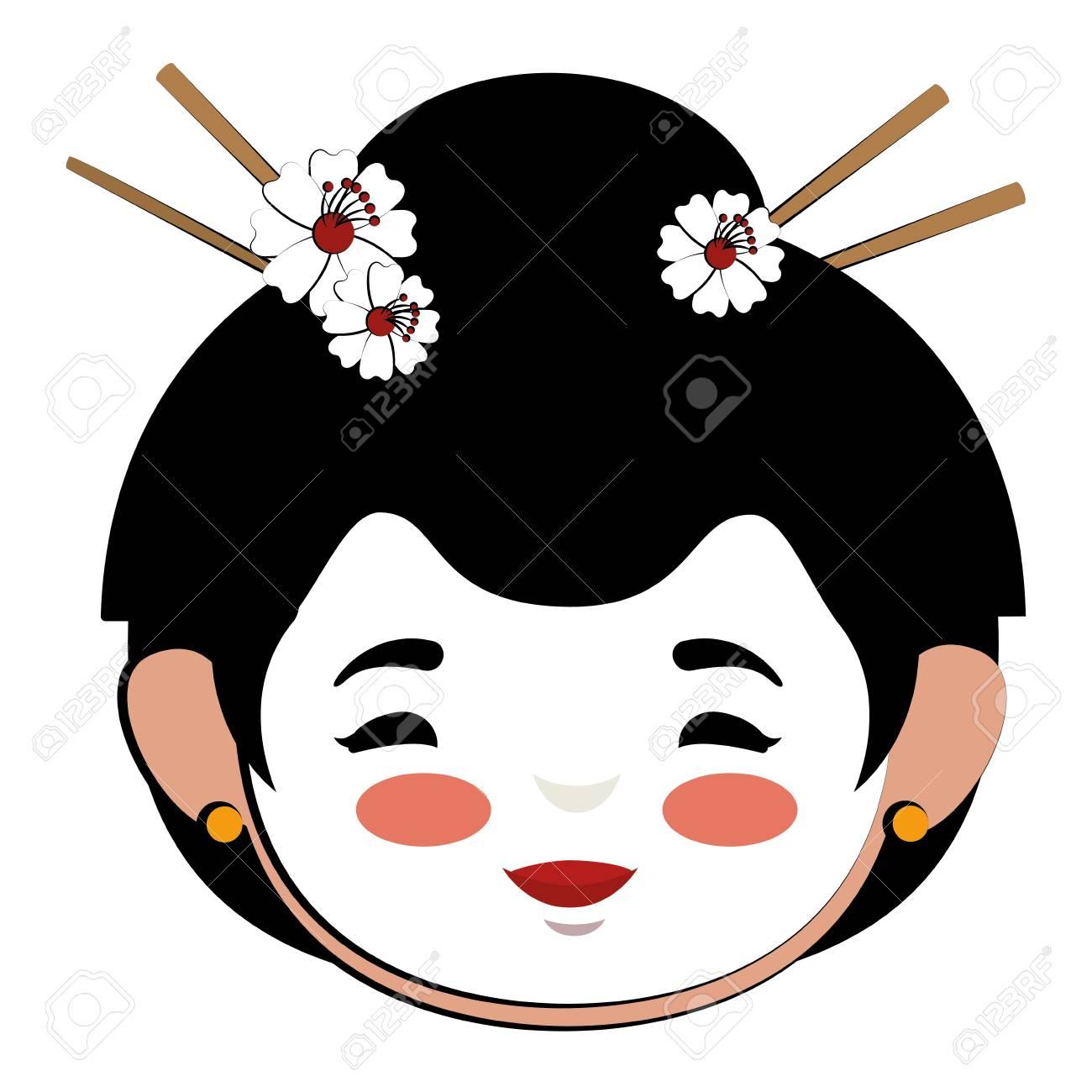 edda7872f Diseño de ilustración de vector de personaje de avatar de mujer japonesa