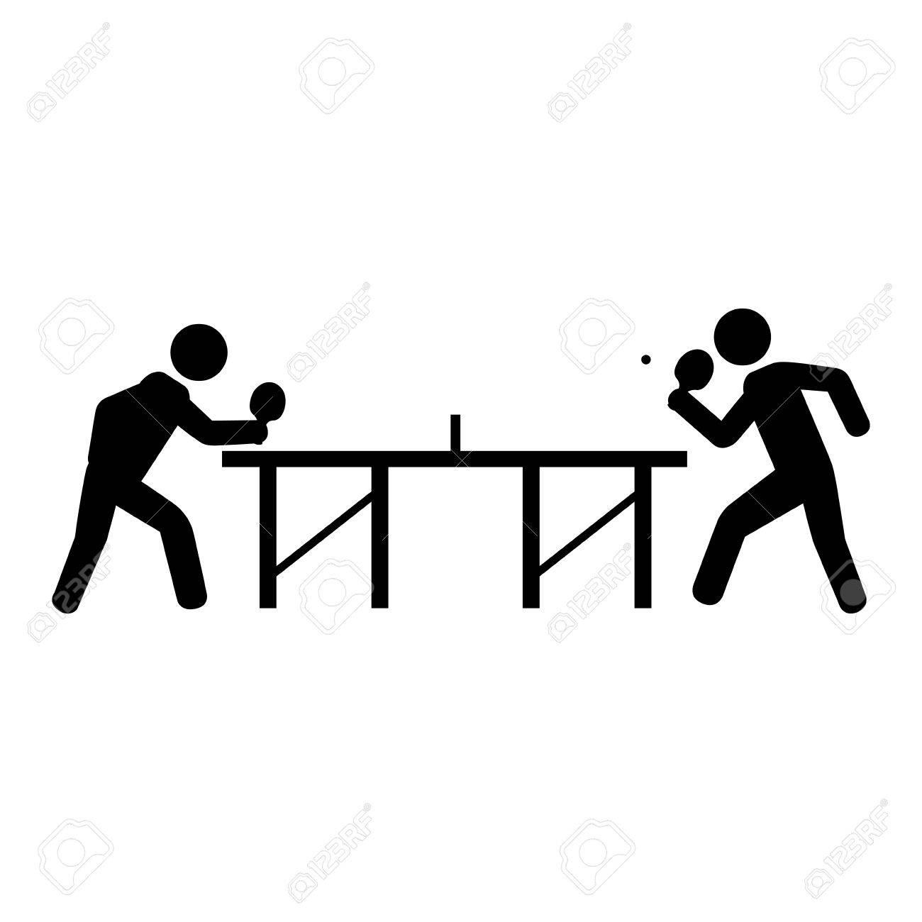 Ping Pong Jugadores Con Silueta De La Tabla Diseño De La Ilustración ...