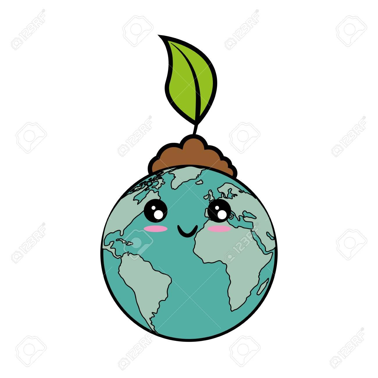Dessin Planète Terre icône de planète terre kawaii sur illustration vectorielle fond
