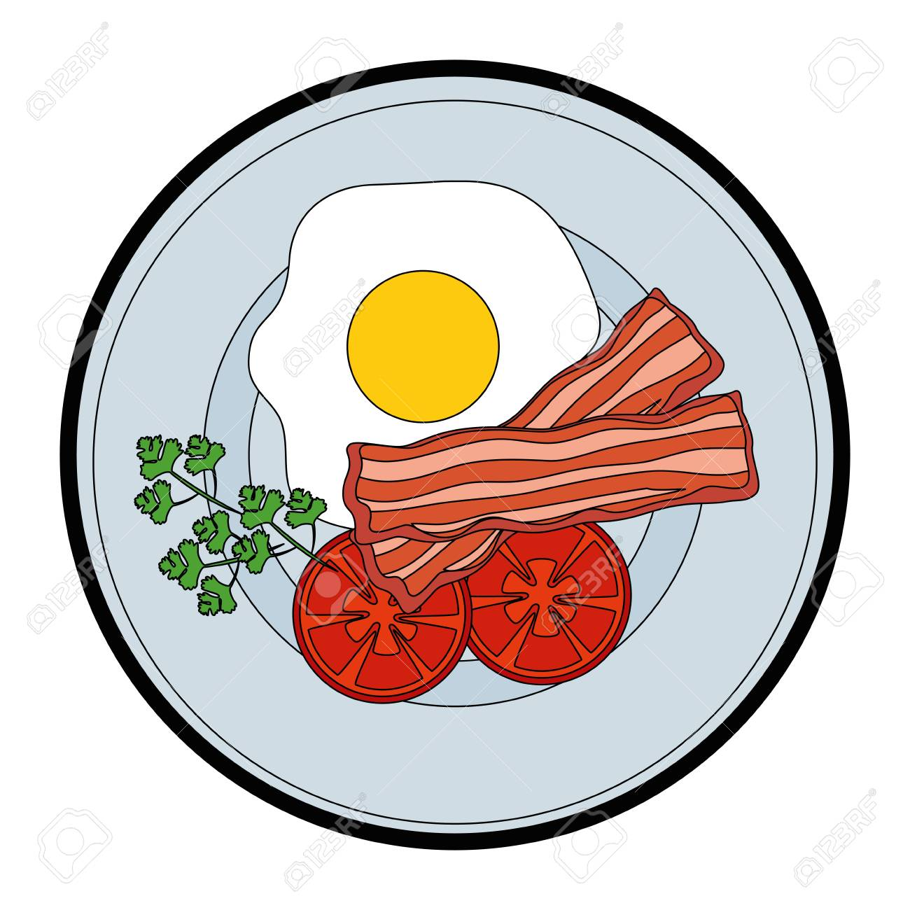 Plate With Breakfast Food Icon Over White Background Vector Illustration Royalty Free Cliparts Vectors And Stock Illustration Image 83818895