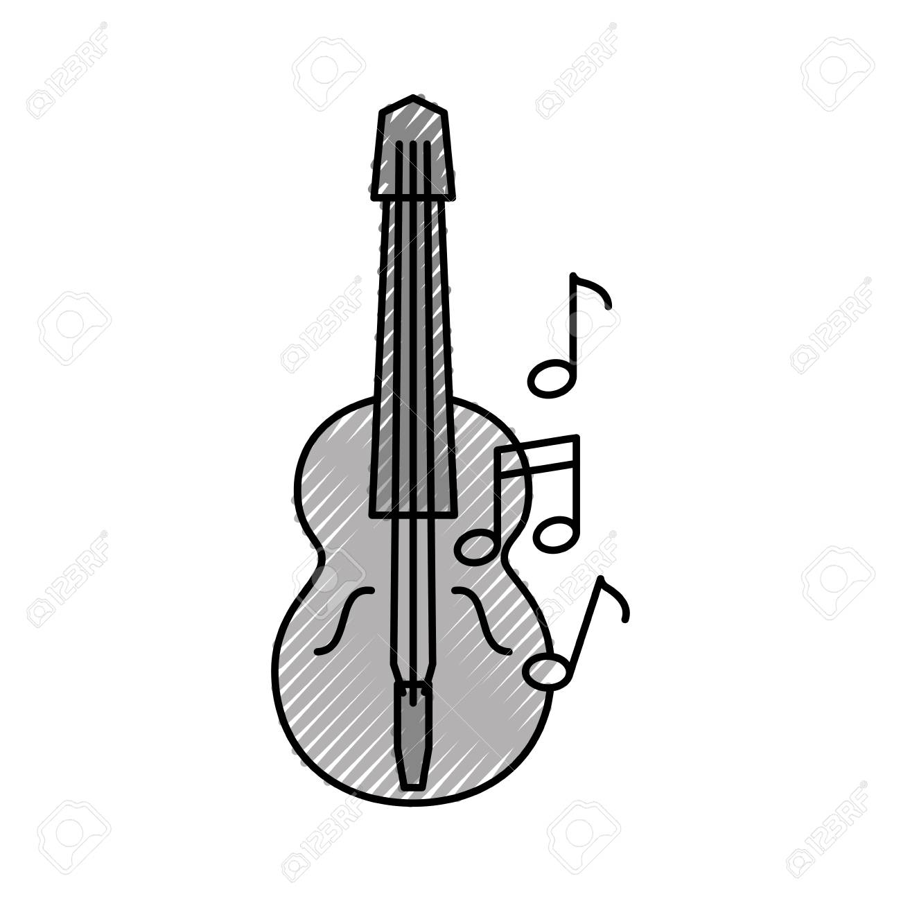 acoustic guitar with music notes vector illustration design royalty rh 123rf com Single Music Notes Music Note Clip Art