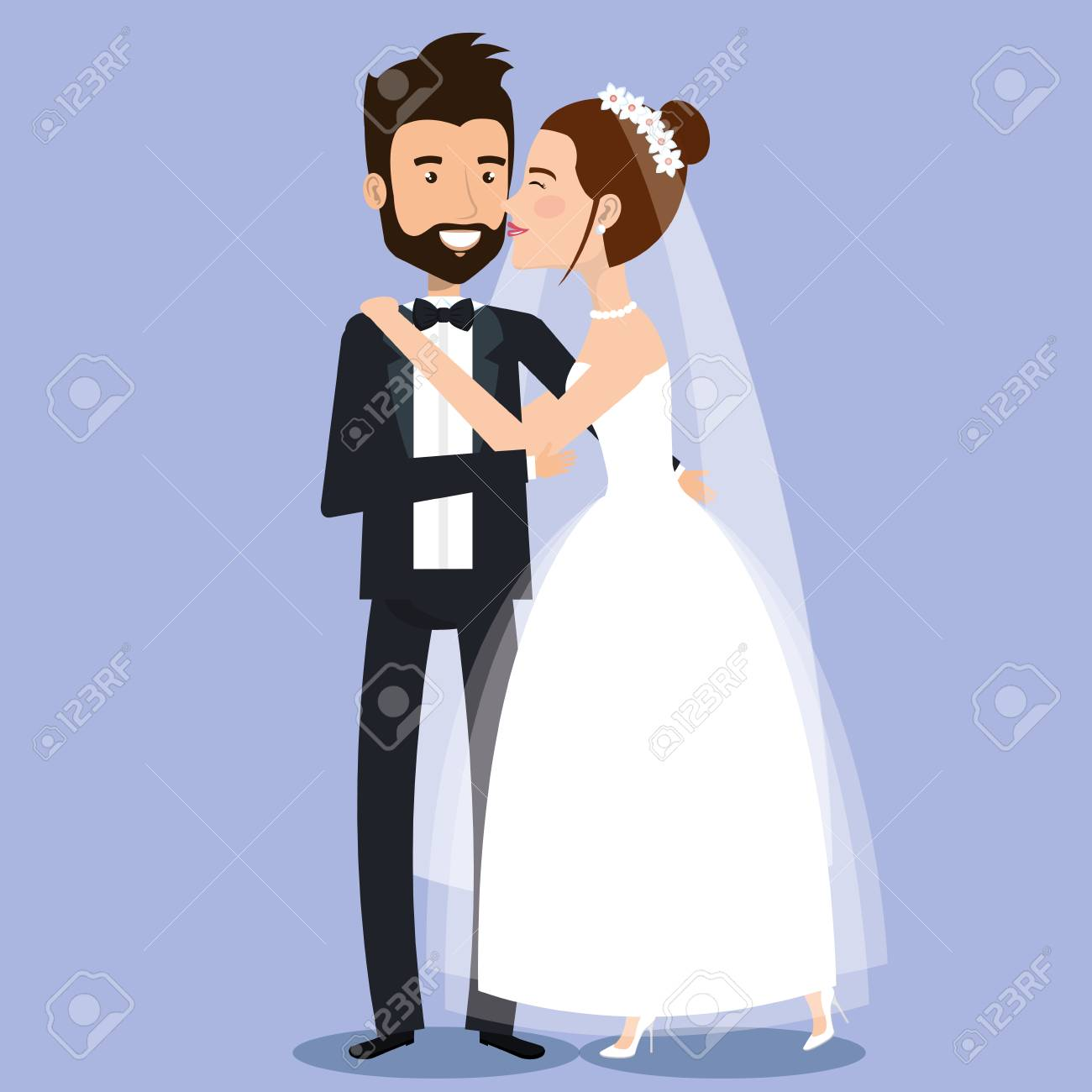 beautiful young bride and groom couple holding hands on wedding day vector illustration - 83854084