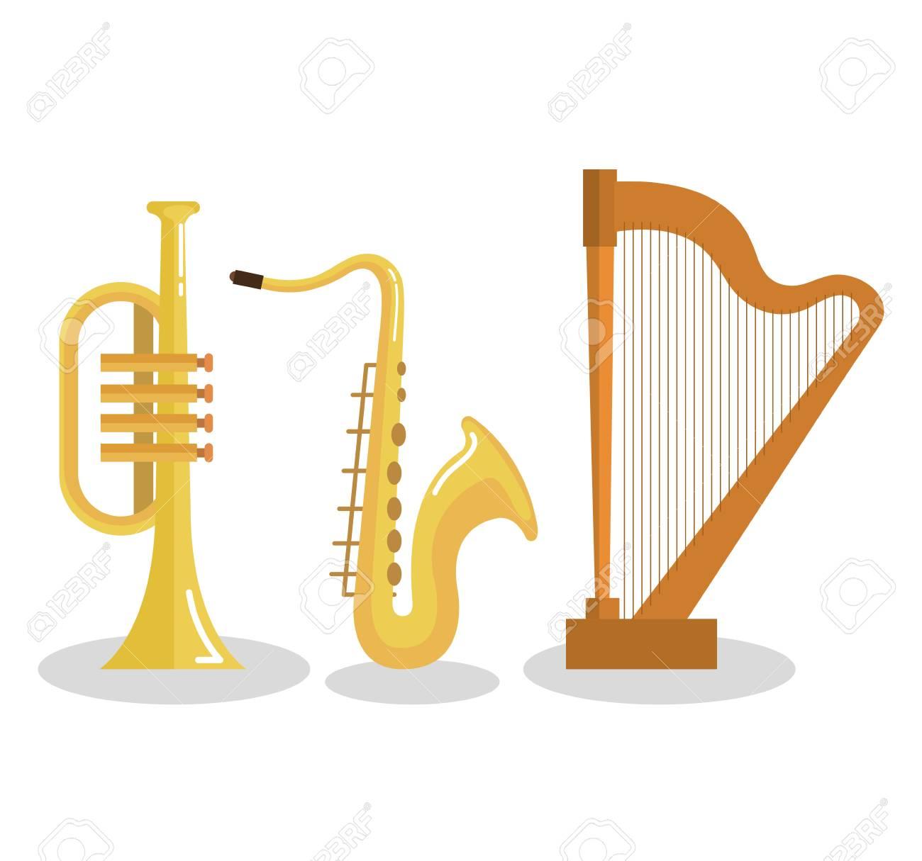 Set Of Musical Instruments Event Symbols Vector Illustration Royalty