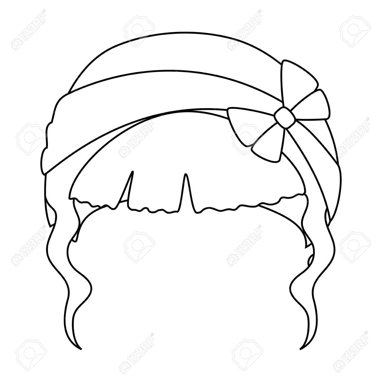 かわいい髪型アイコン白背景ベクトル イラスト上で女性髪
