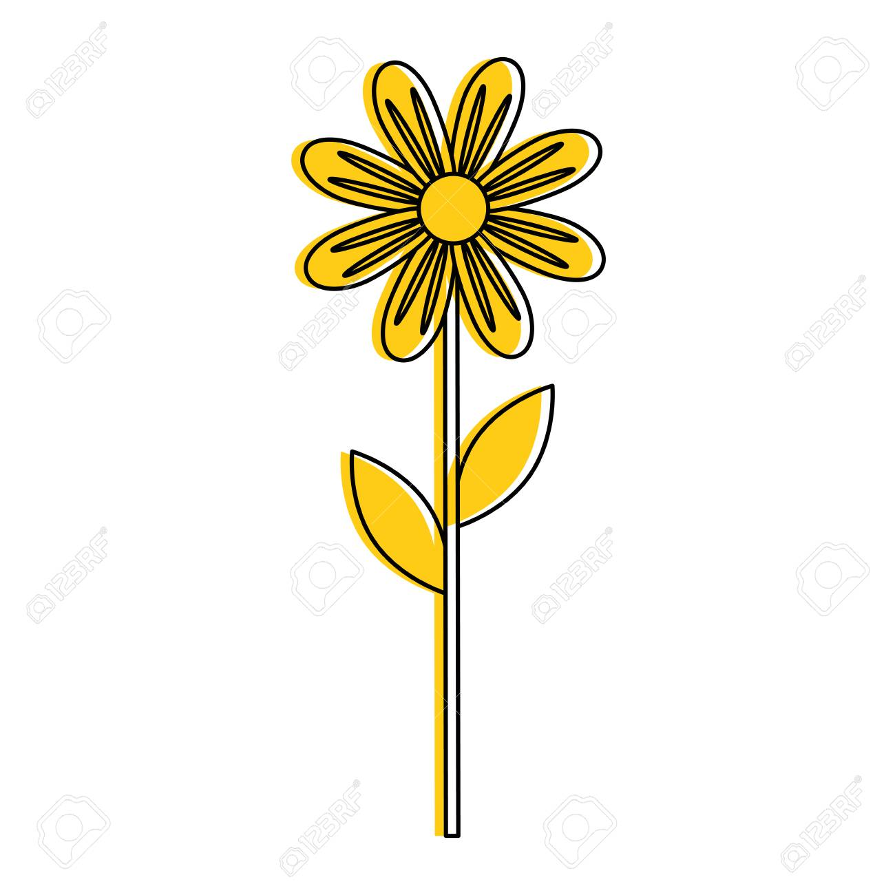Yellow Beautiful Flower Icon Royalty Free Cliparts Vectors And