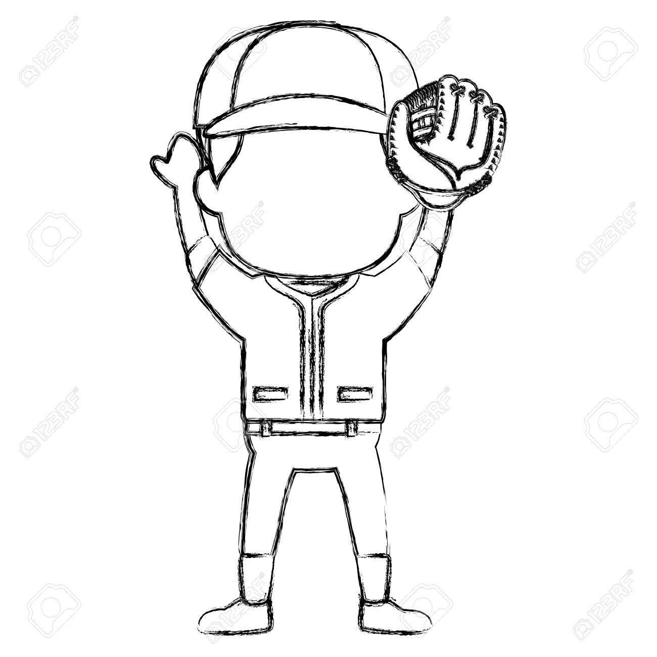 Baseball Player Catcher Avatar Character Vector Illustration