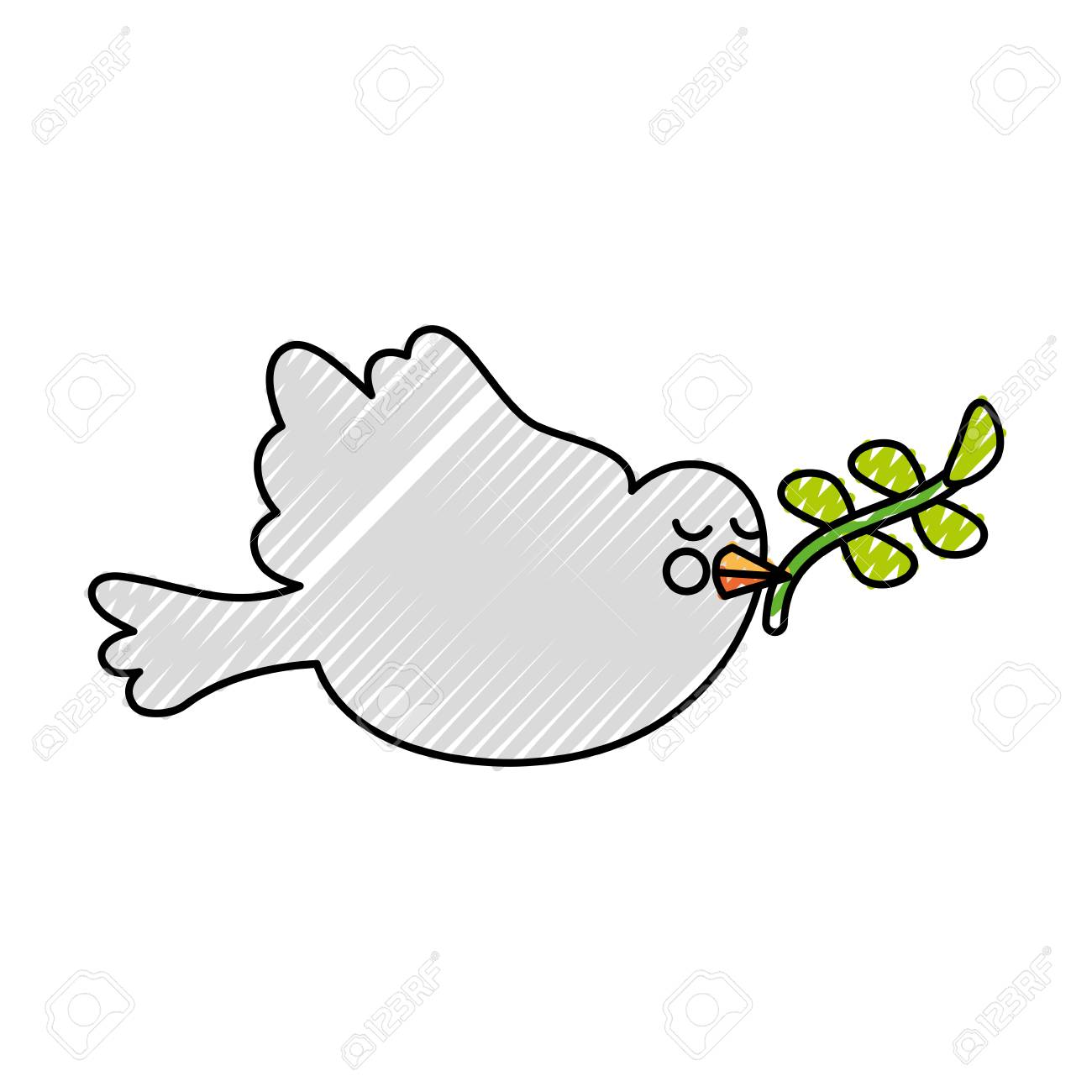 Cute Dove With Olive Branch Vector Illustration Design Royalty Free Cliparts Vetores E Ilustracoes Stock Image 84733893