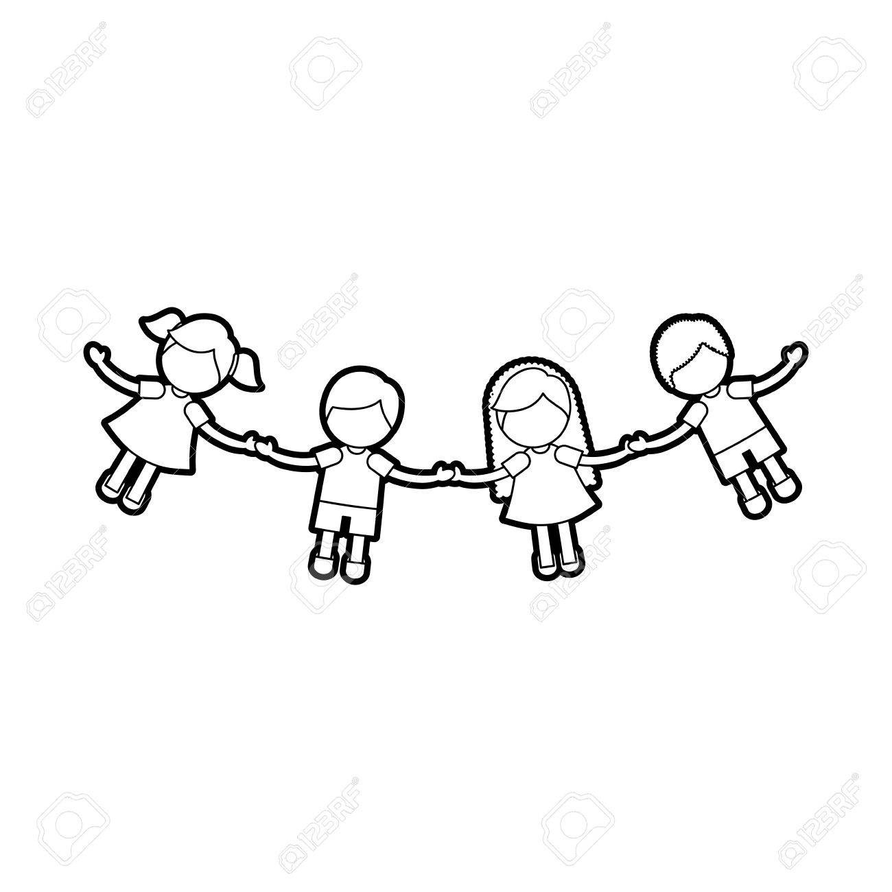 children holding hands characters vector illustration design royalty