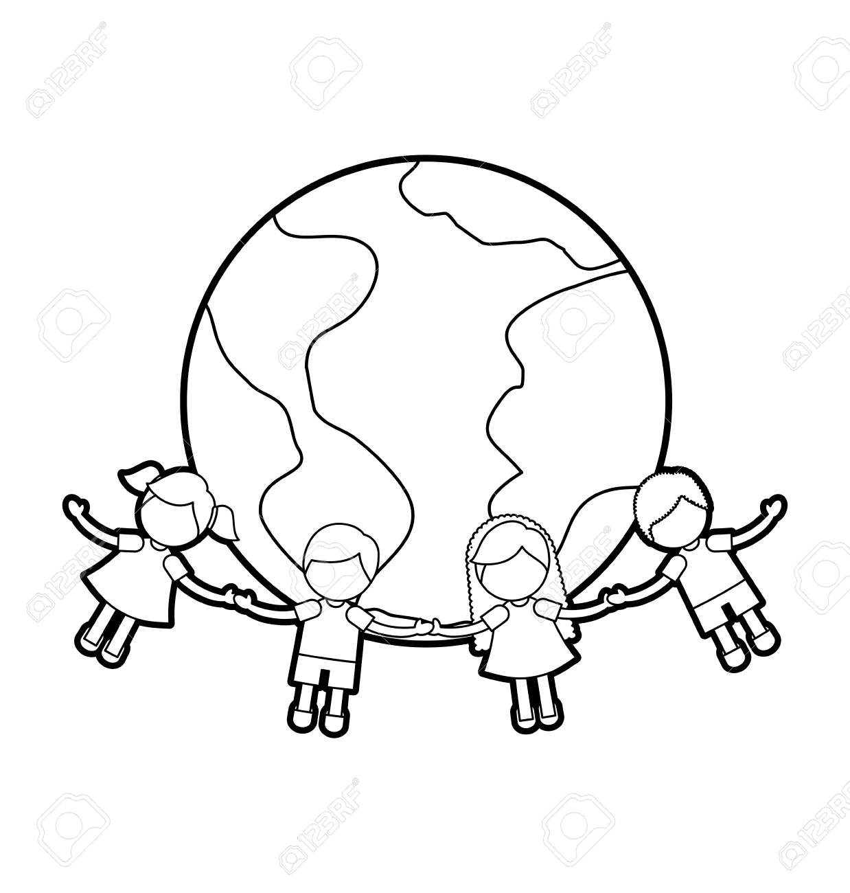 children holding hands around the world vector illustration design