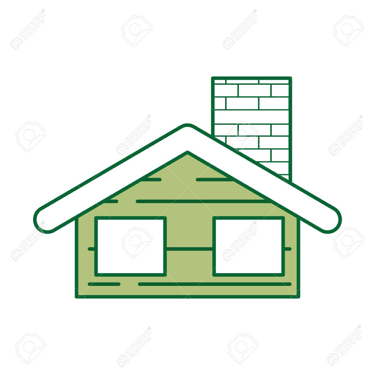 Cute House With Chimney Vector Illustration Design Royalty Free ...