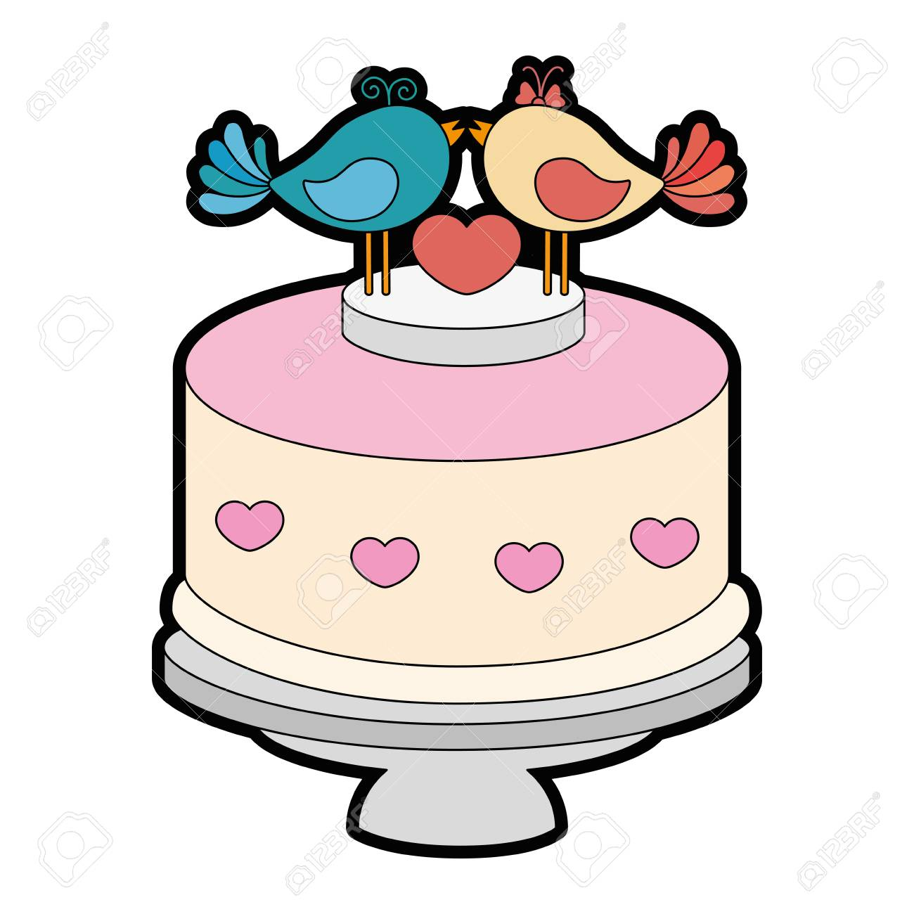 Wedding Cake With Decorative Couple Of Doves Icon Over White ...