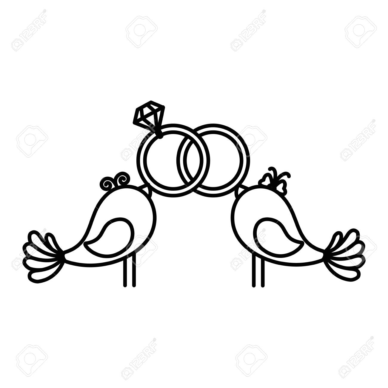 Cute Couple Of Doves With Wedding Rings Icon Over White Background Stock Vector