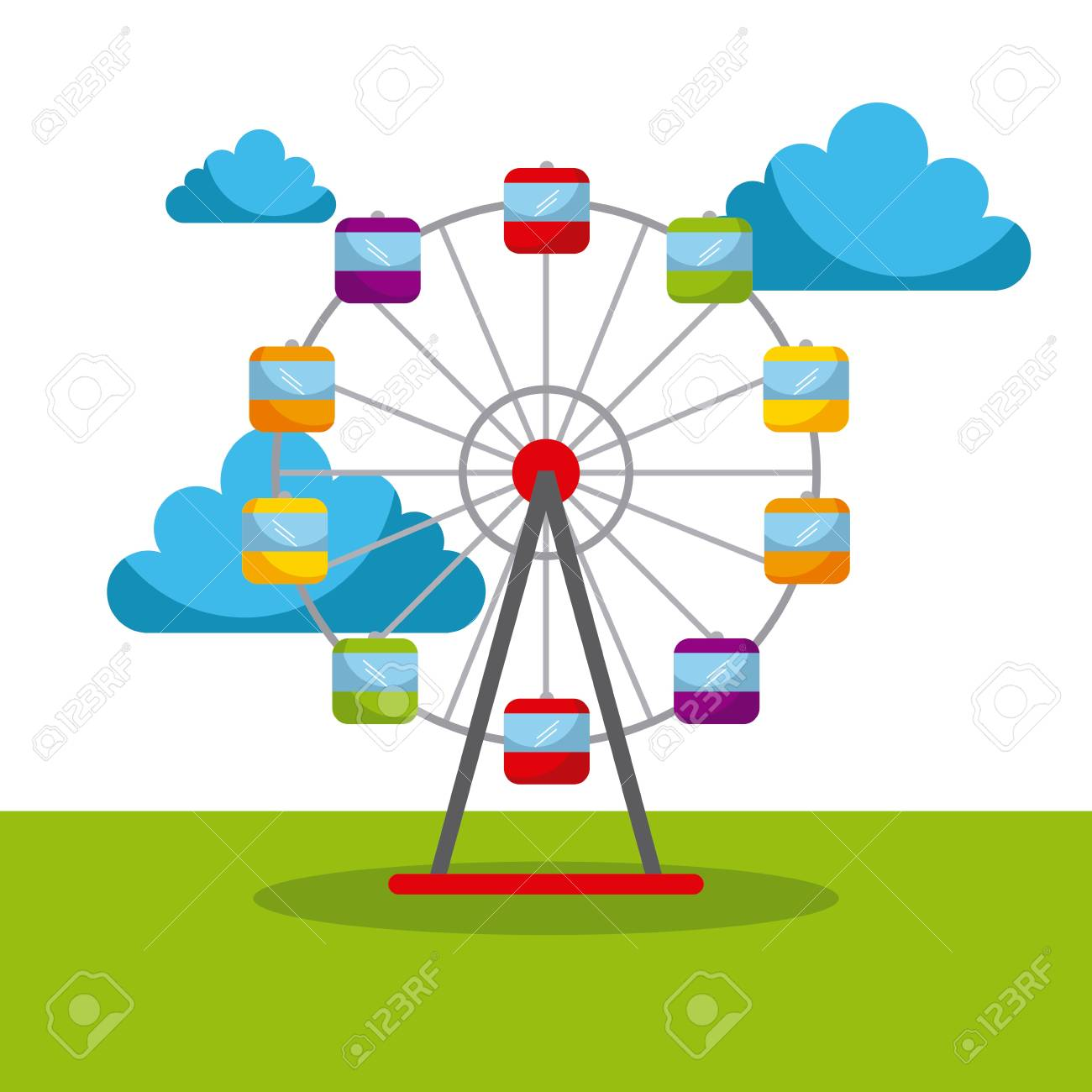 ferris wheel carnival fun fair festival circus park vector illustration - 85126410