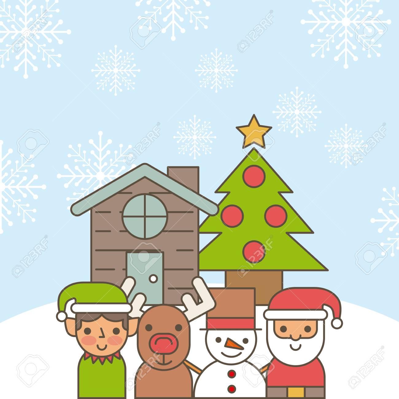 Banque dimages maison de dessin animé de santa helper cerf bonhomme de neige et arbre de pin décoration illustration vectorielle