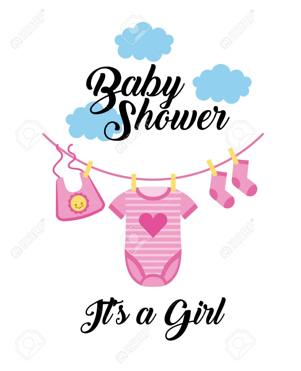 Vector baby shower girl awesome graphic library baby shower its a girl clothes hanging with cloud vector rh 123rf com baby shower girl invitation vector stopboris Choice Image