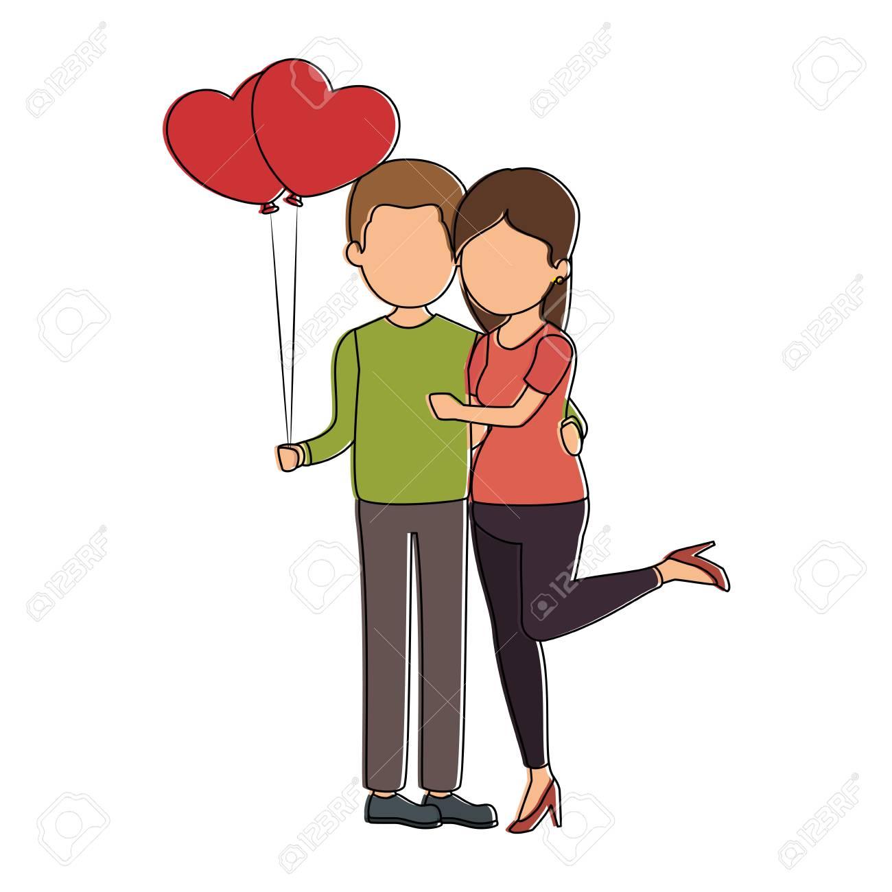 lindo pareja de enamorados con diseño de ilustración de vector de