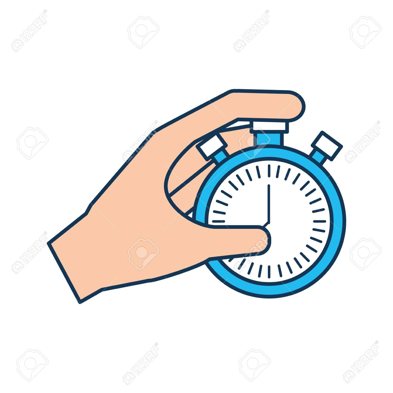 hand holding finger on stopwatch with seconds arrow vector rh 123rf com hand vector pick hand vector free download