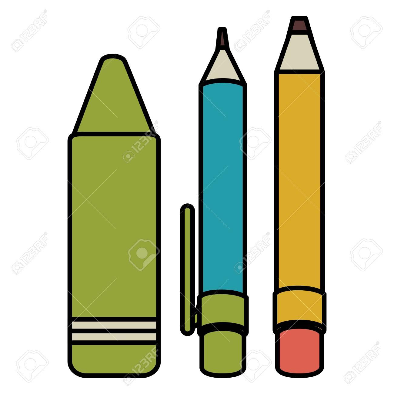 pen school with pencil and crayon vector illustration design royalty rh 123rf com crayon factory for kids crayola factory uk