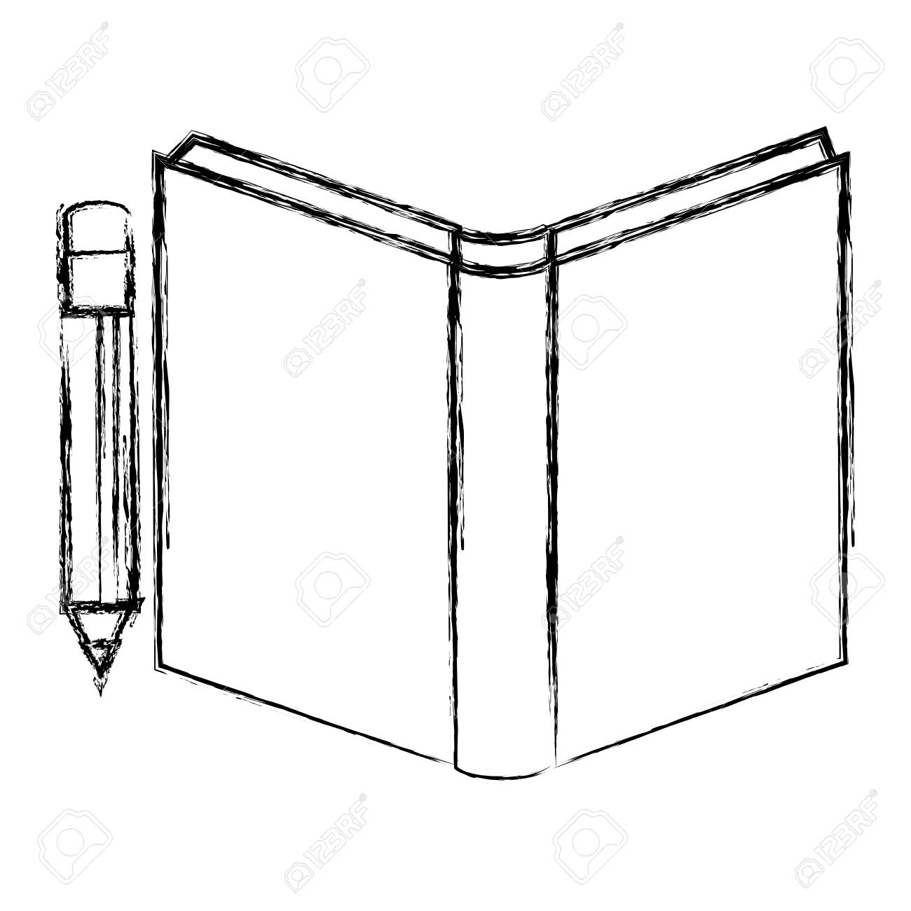 Outline drawing of school text book with pencil vector illustration