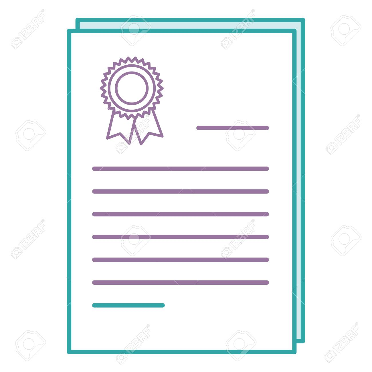 colored outline illustration of graduation diploma certificate