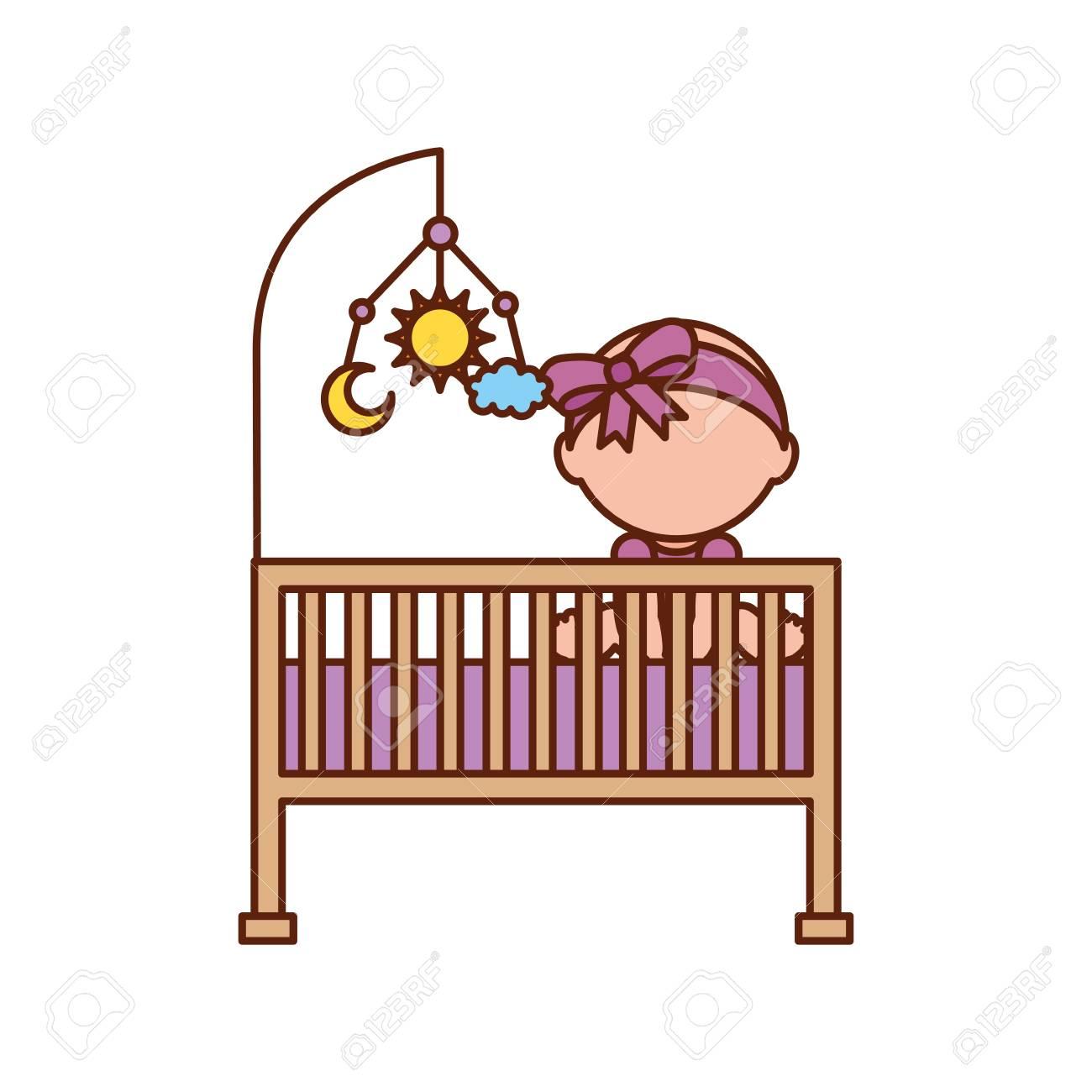 Niña Con Cuna De Juguete Móvil Muebles De La Ducha De Bebé Símbolo ...