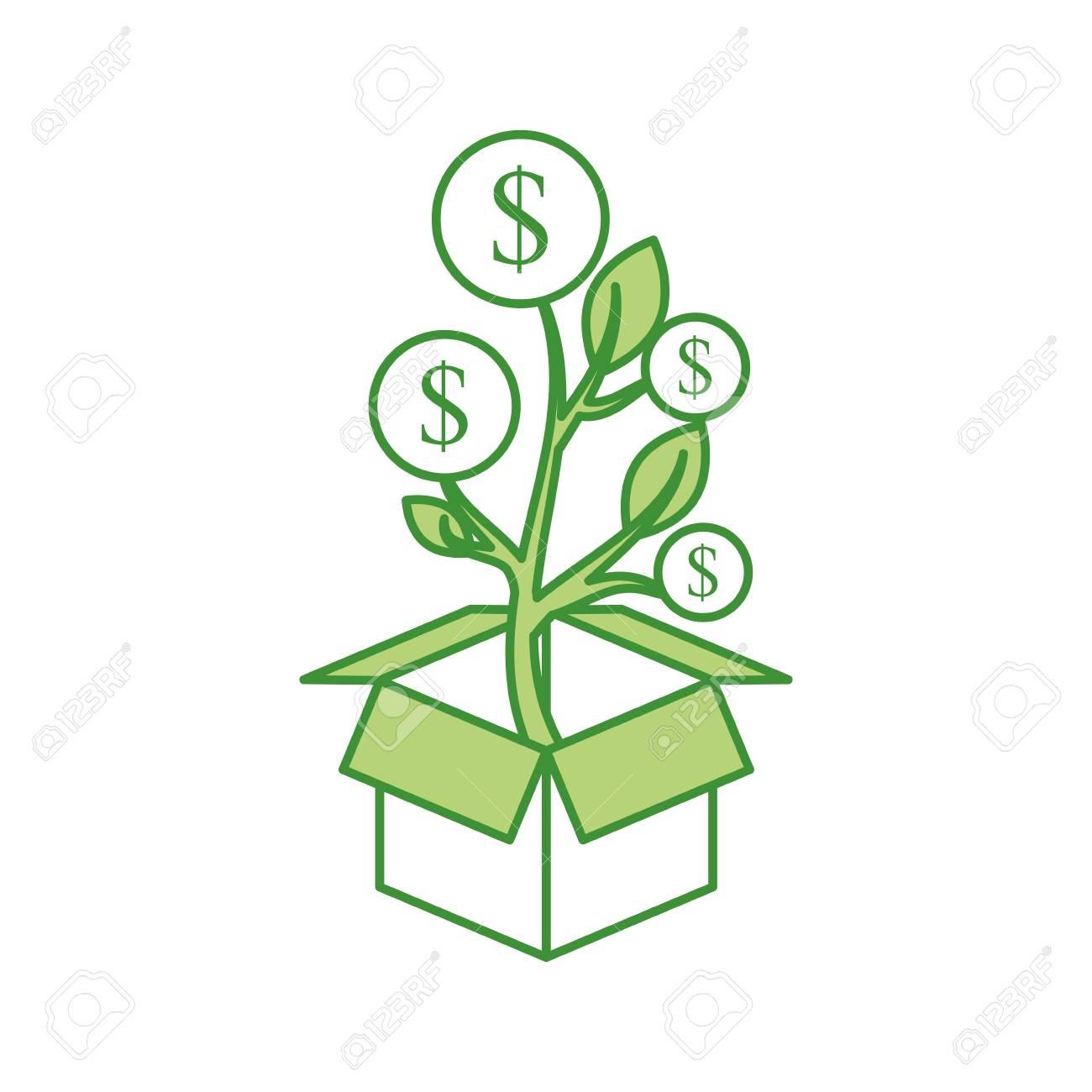 Pflanze Wächst Aus Münzen In Einer Box Geschäft Verdienen Geld