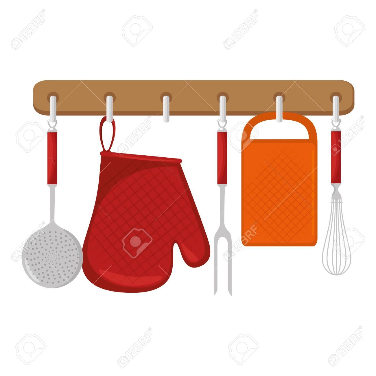 Kitchen set equipment hanging vector illustration design stock vector 85482624