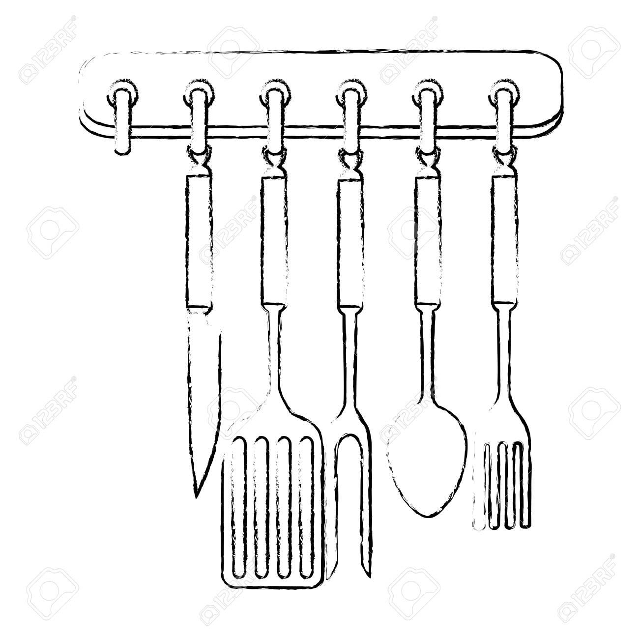 Kitchen set equipment hanging vector illustration design stock vector 85560286