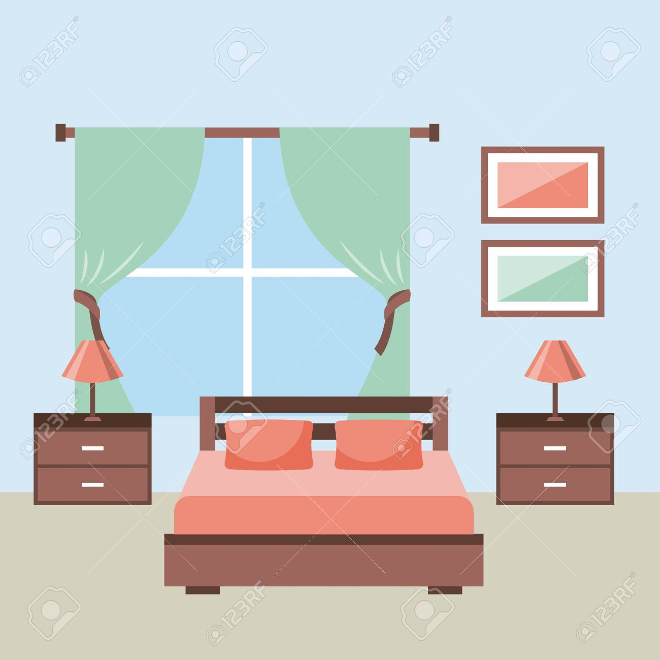 Picture of: Bedroom Interior With Furniture Bedside Table Lamp Frame Window Royalty Free Cliparts Vectors And Stock Illustration Image 85621652