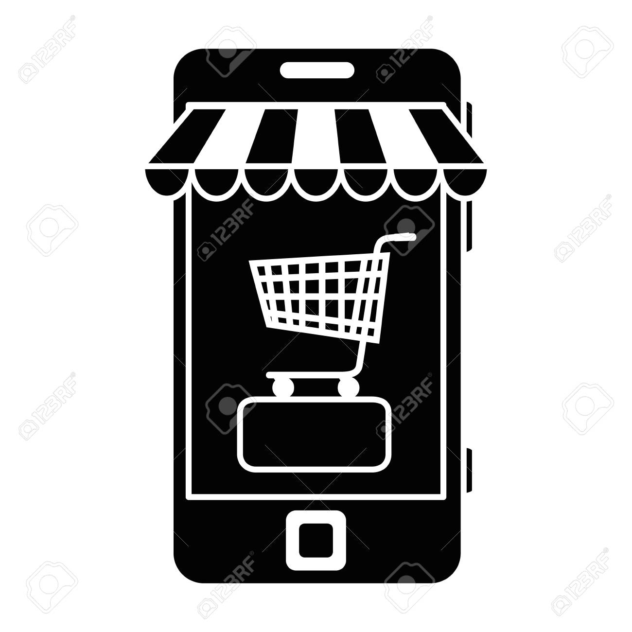 smartphone with market online app vector illustration design