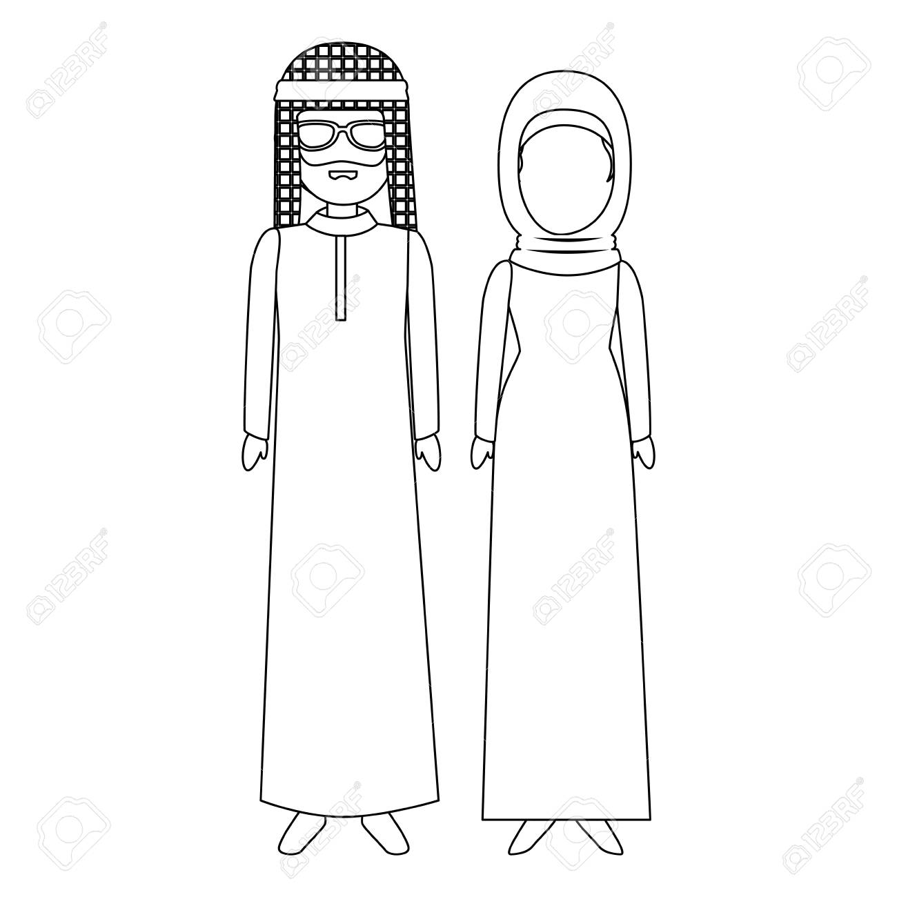 Muslim couple avatars characters vector illustration design stock vector 85660332