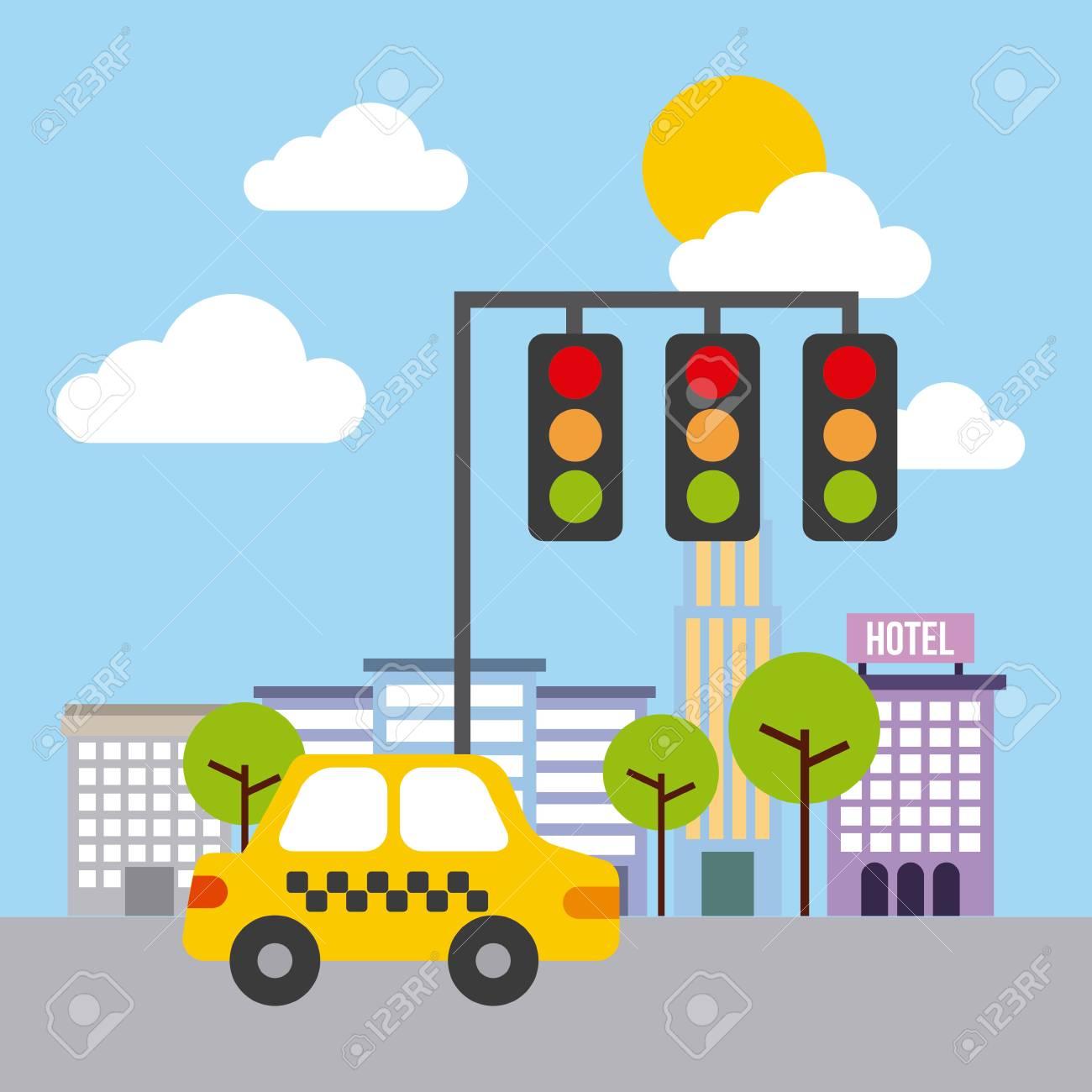 89c90848b9 street urban city building structure traffic vector illustration Stock  Vector - 85726207