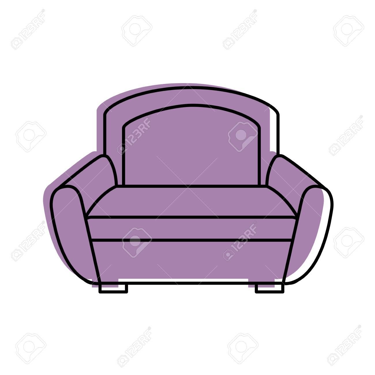 Cartoon Illustration Of Sofa Furniture Home Decor Comfort Element