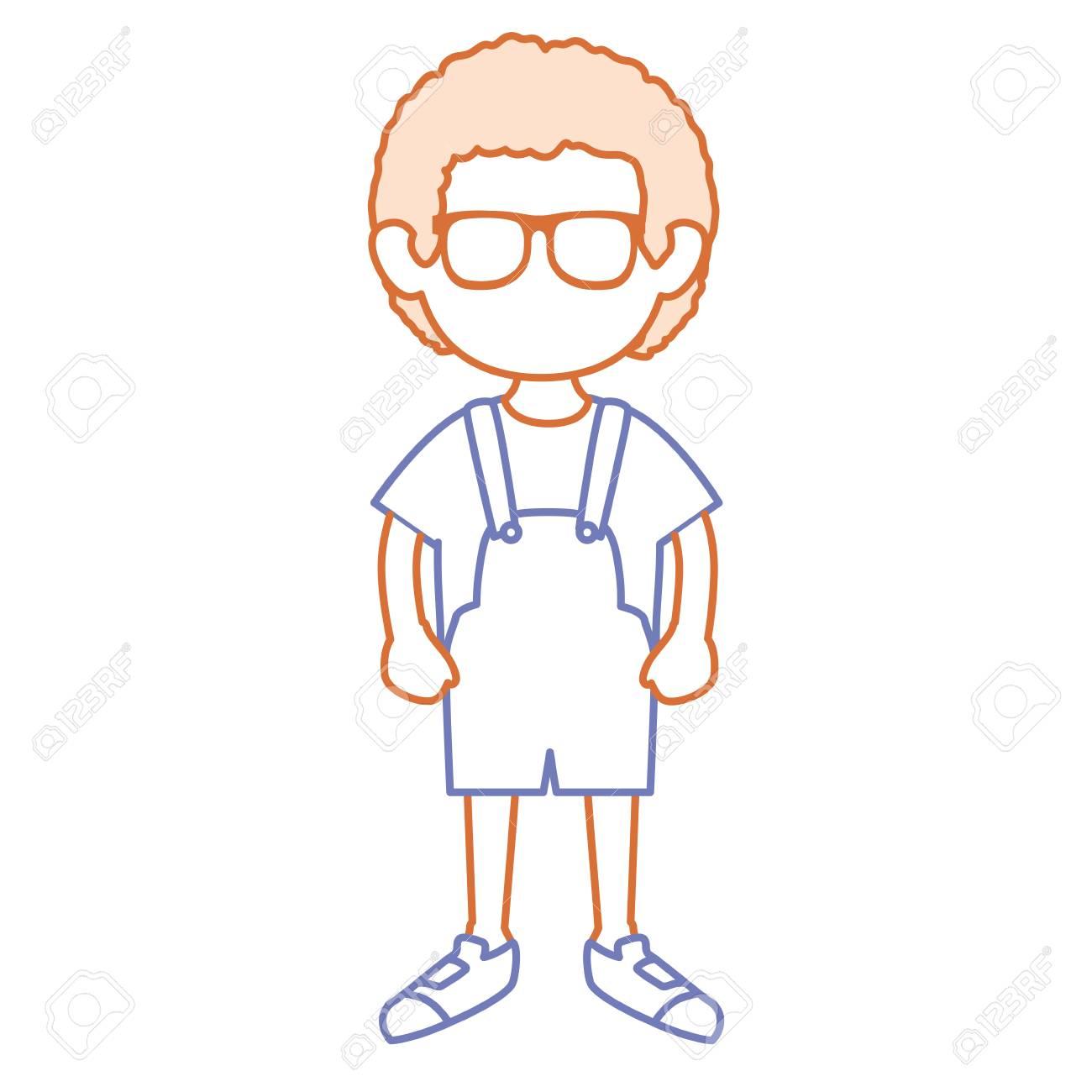 メガネ アバター文字ベクトル イラスト デザインのかわいい男の子の