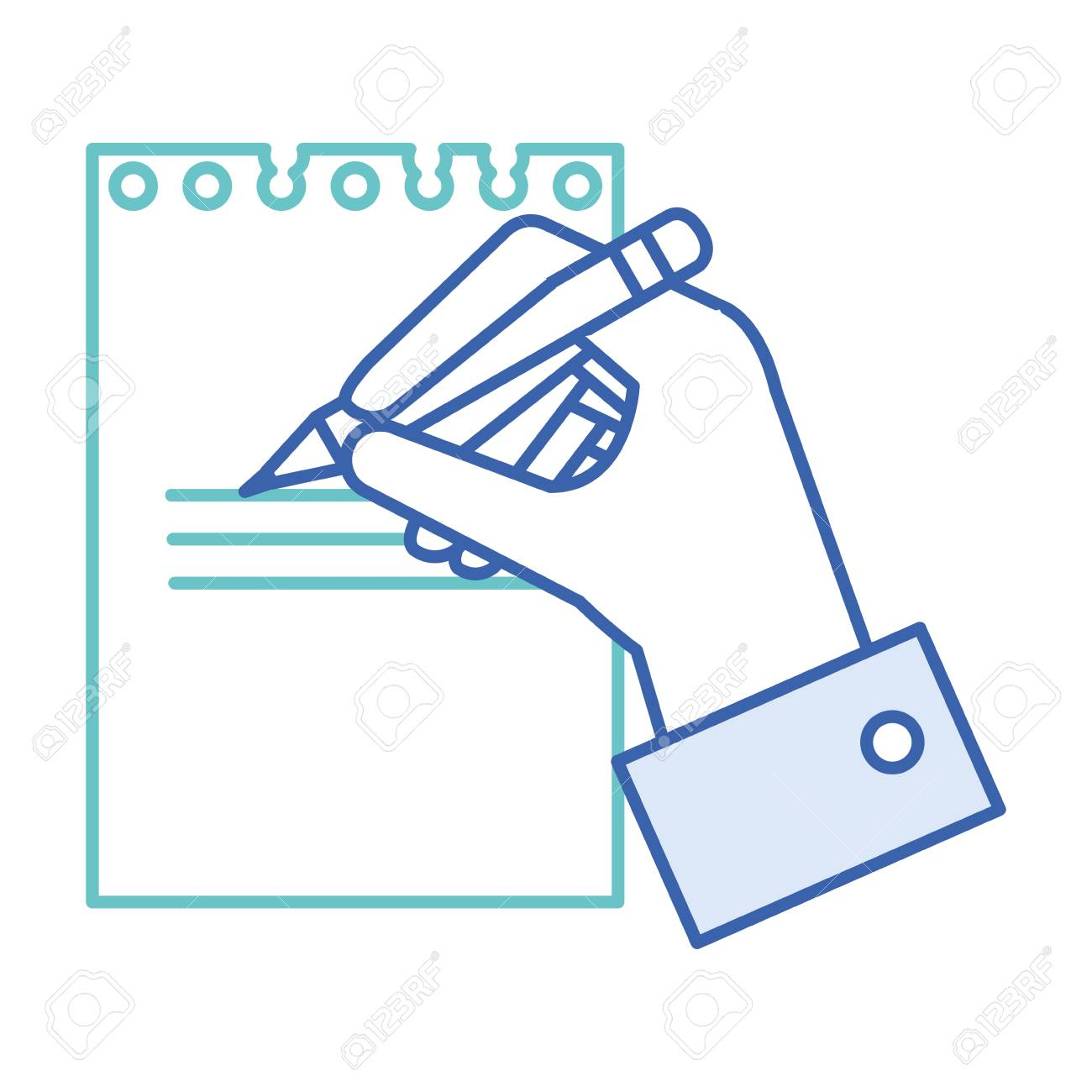 hand human with pencil writing in notebook vector illustration