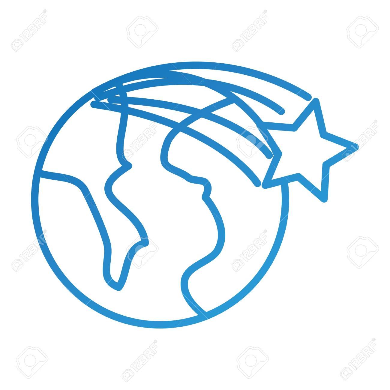Univers Planete Terre Etoile Espace Dessin Anime Vector Illustration
