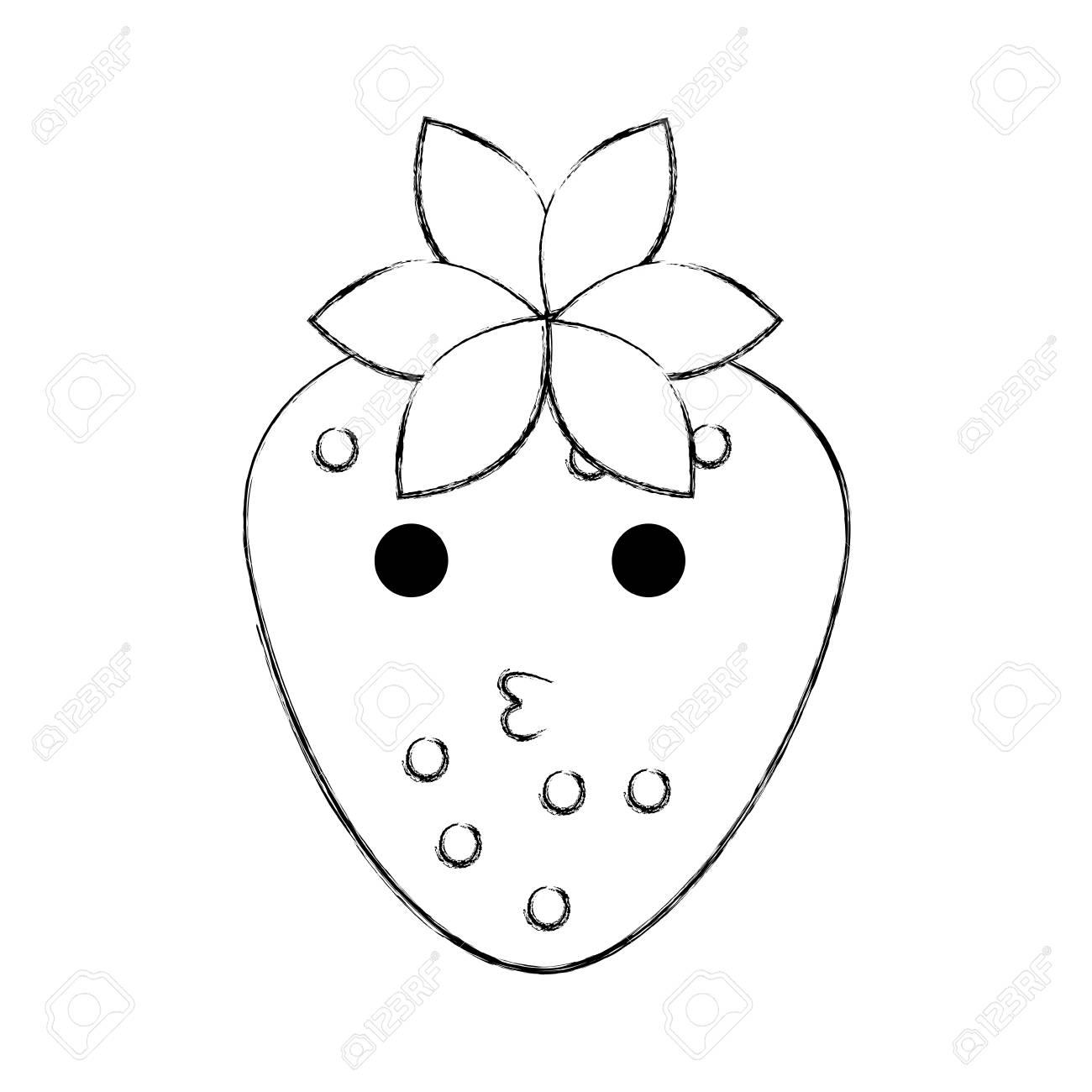 Kawaii Strawberry Fruit Cheerful Cartoon Vector Illustration